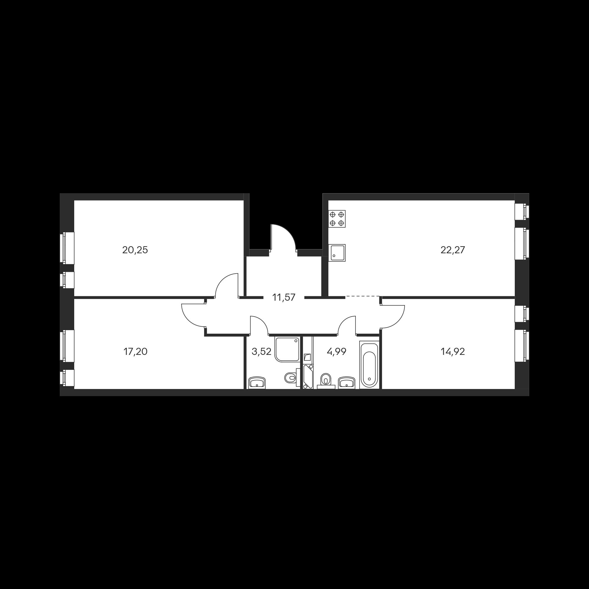 3-комнатная 94.72  м²