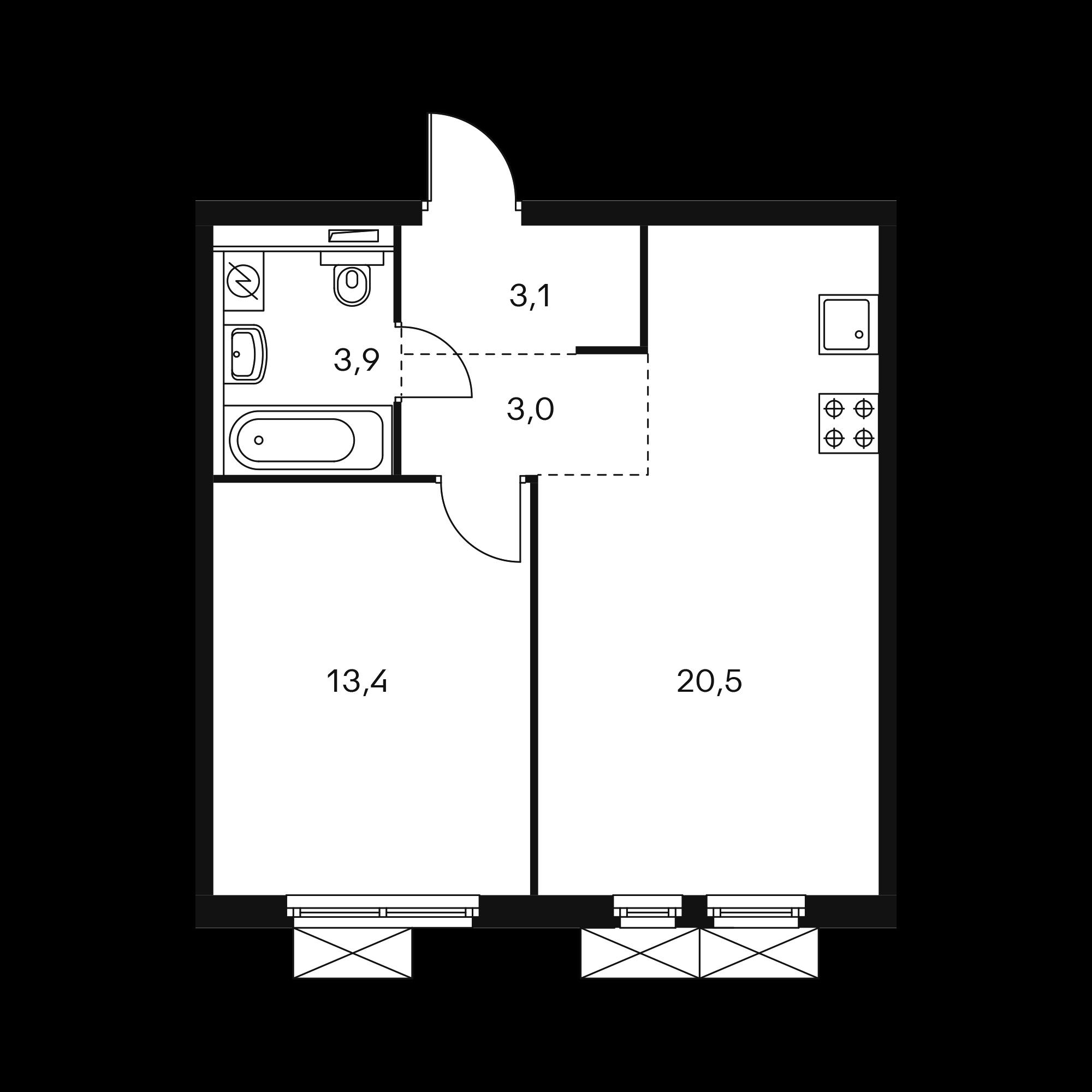 1-комнатная 49.3 м²