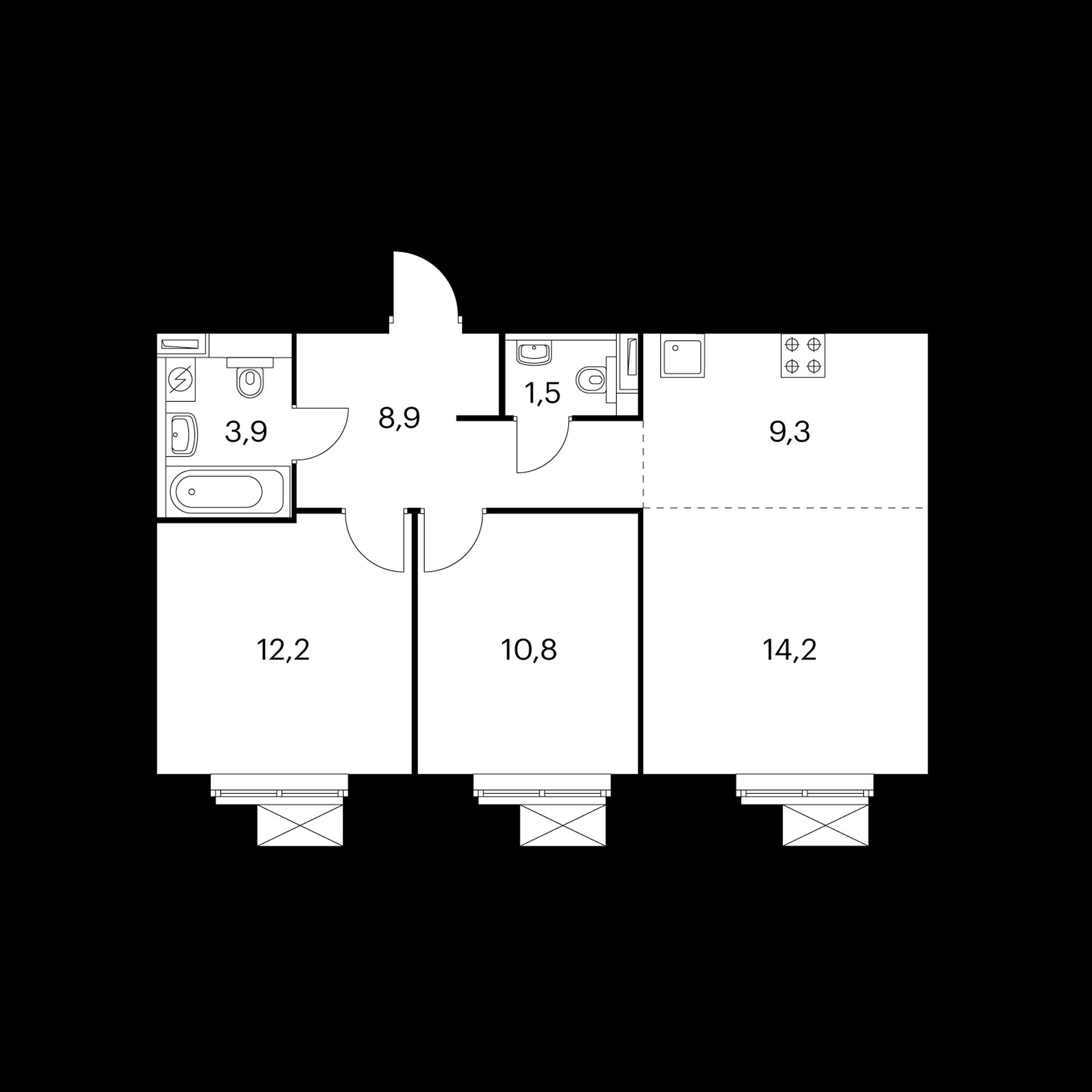 3-комнатная 60.8 м²