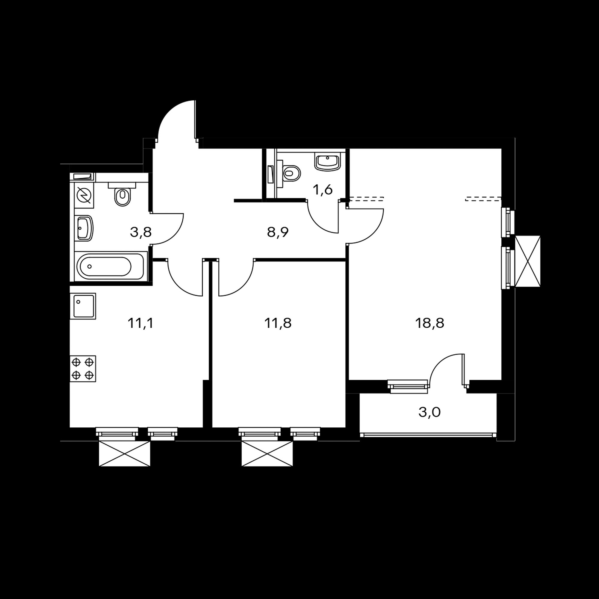 2-комнатная 57.5 м²