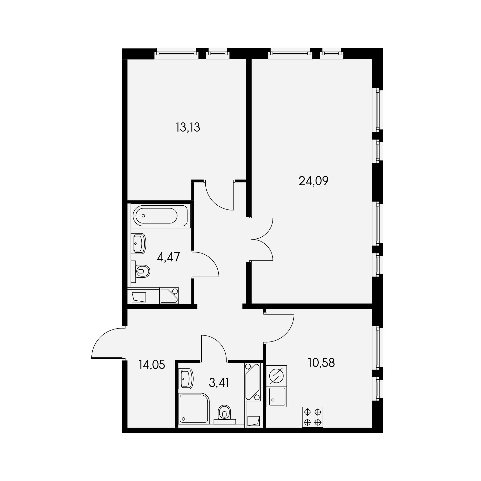 2-комнатная 69 м²