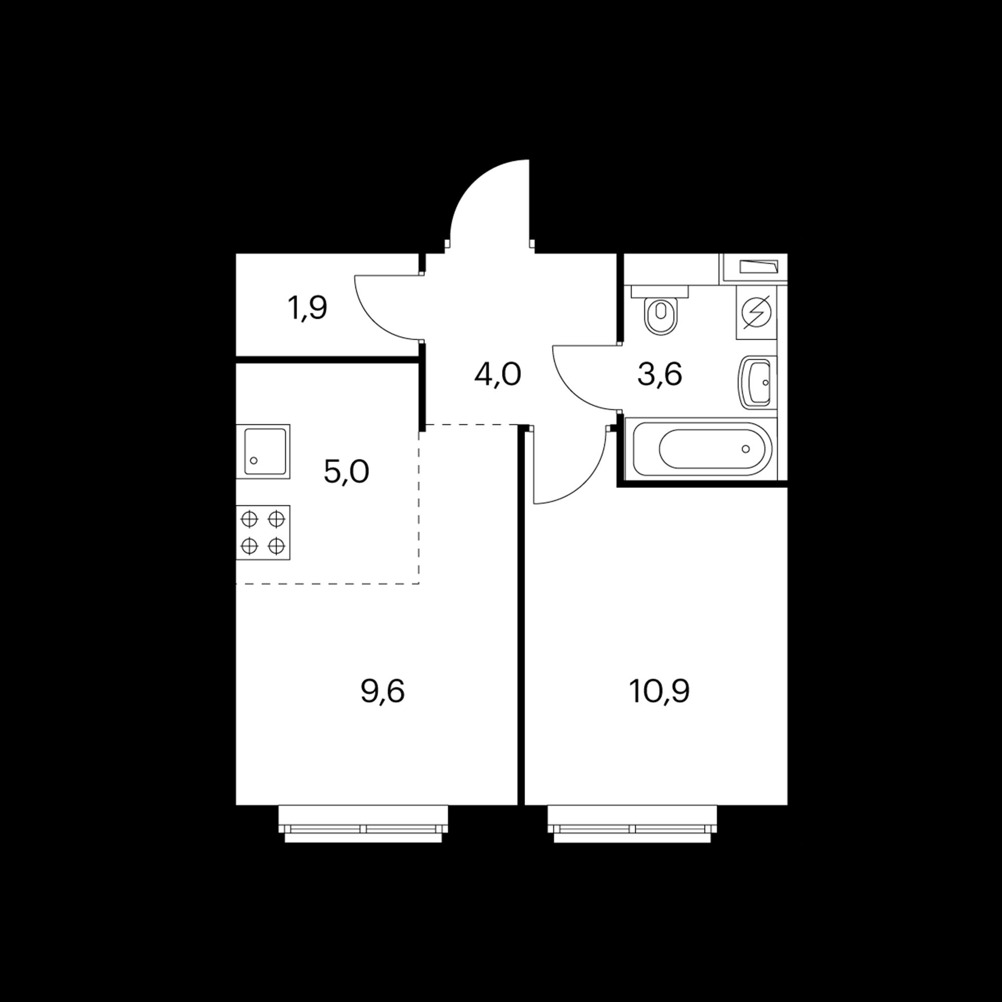 2-комнатная 35 м²