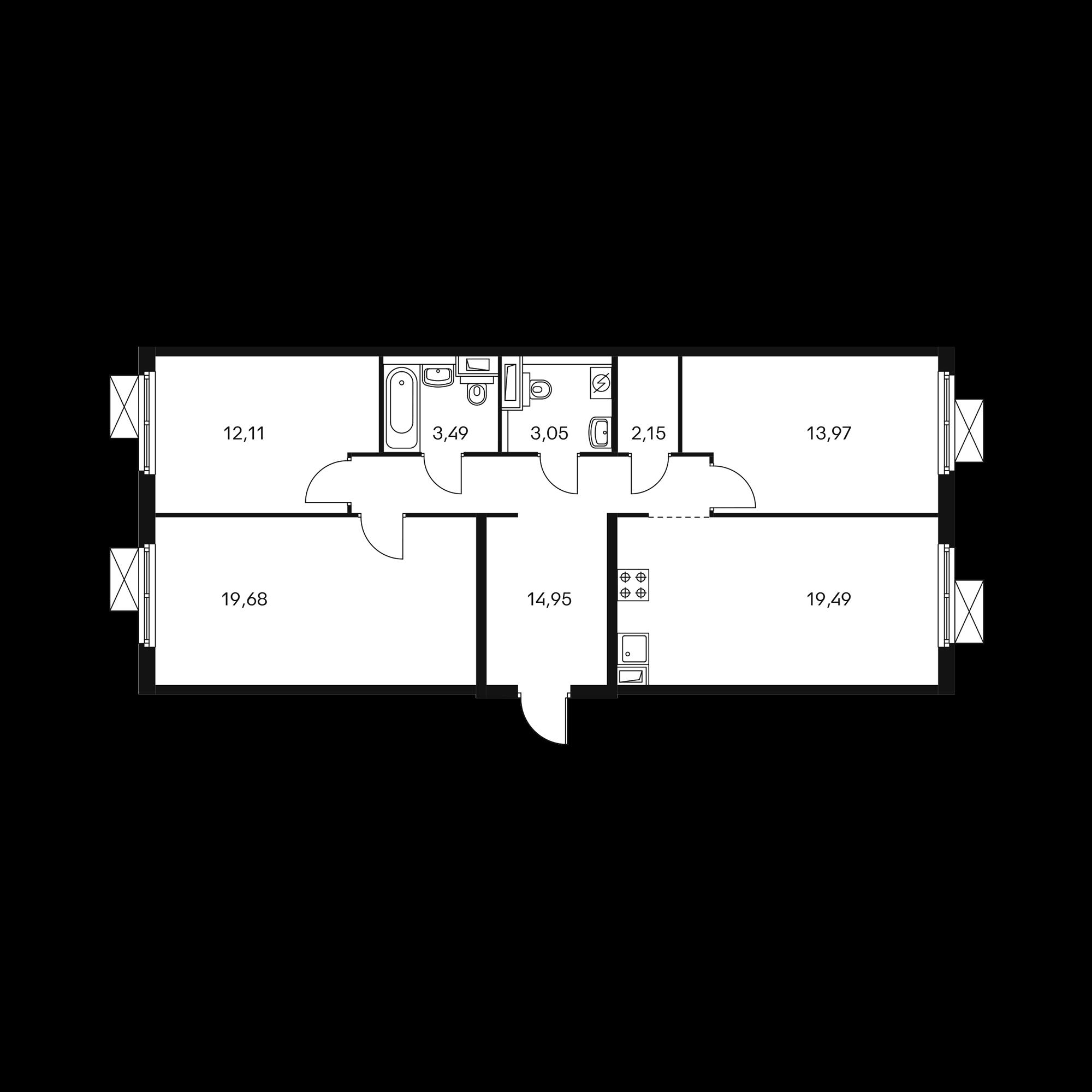 3-комнатная 88.89 м²
