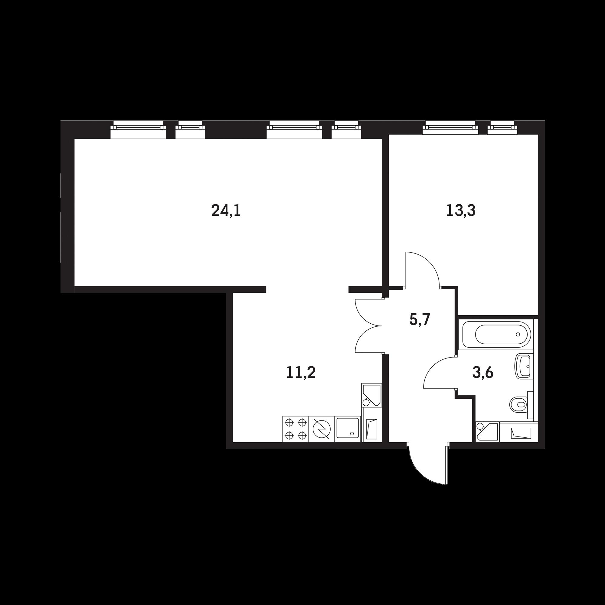 2-комнатная 57.6 м²
