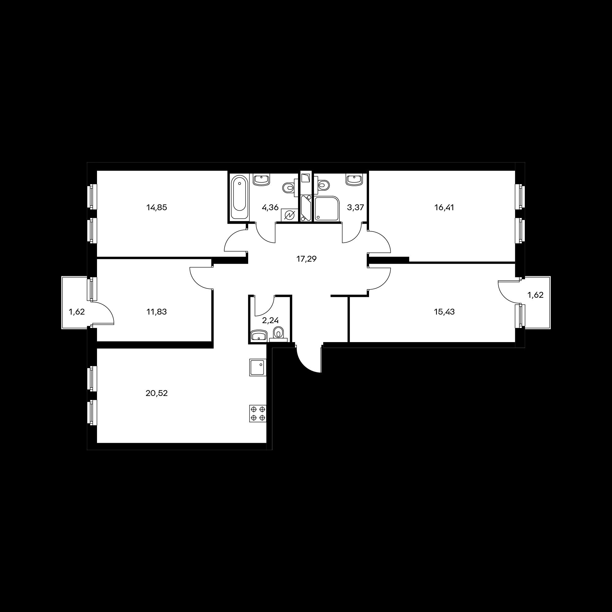 4-комнатная 107.3 м²