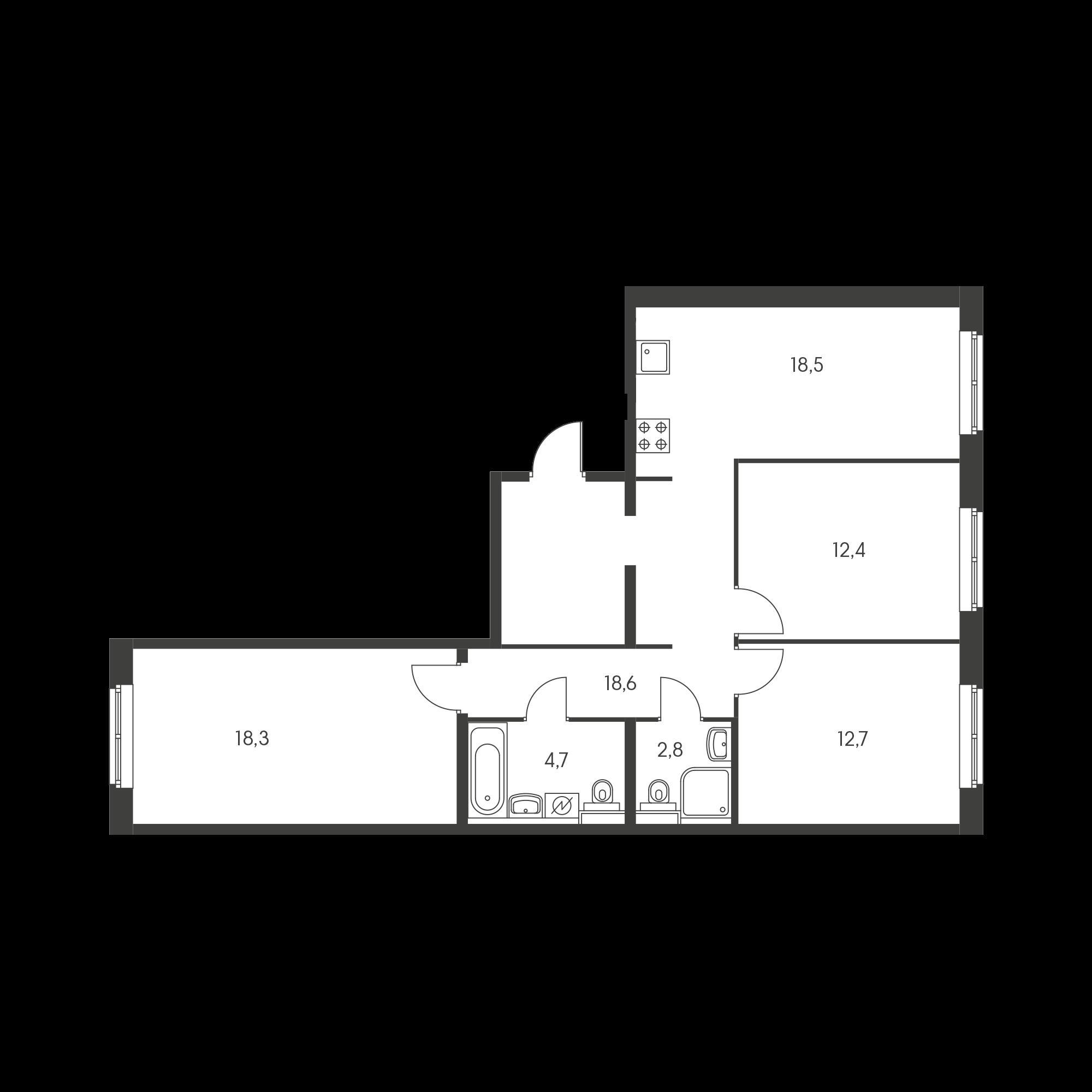 3-комнатная 87.1  м²