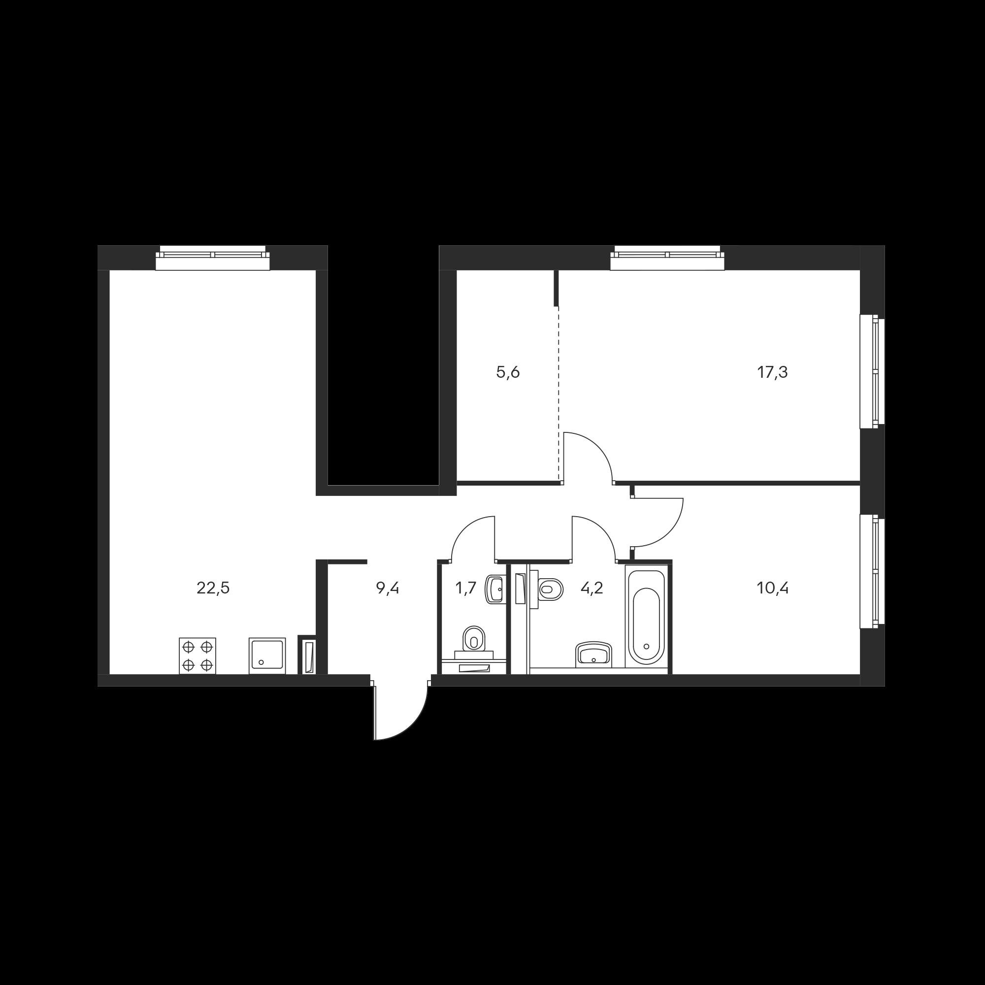 2-комнатная 71.1 м²