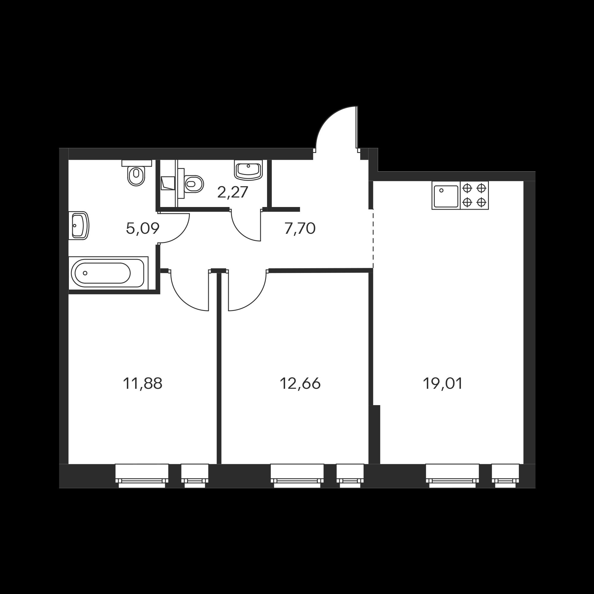 2-комнатная 58.61 м²