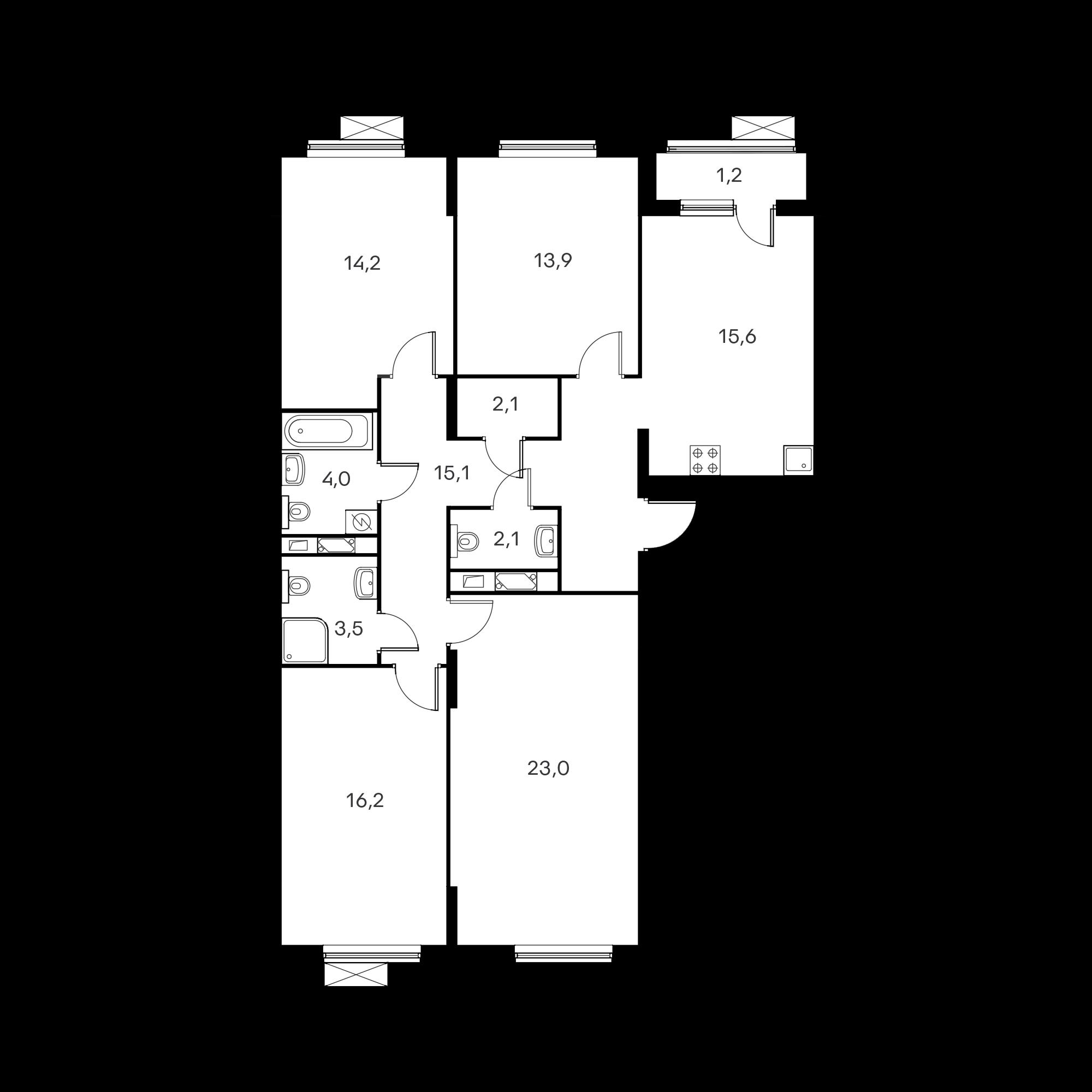 4-комнатная 109.3 м²