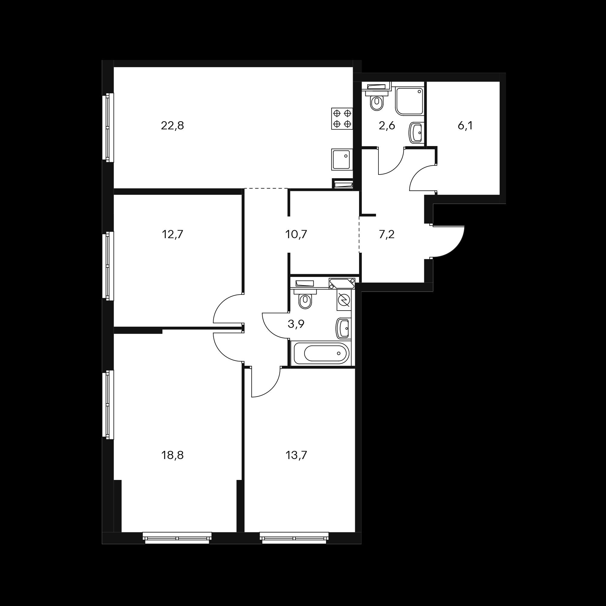 3-комнатная 97.9 м²