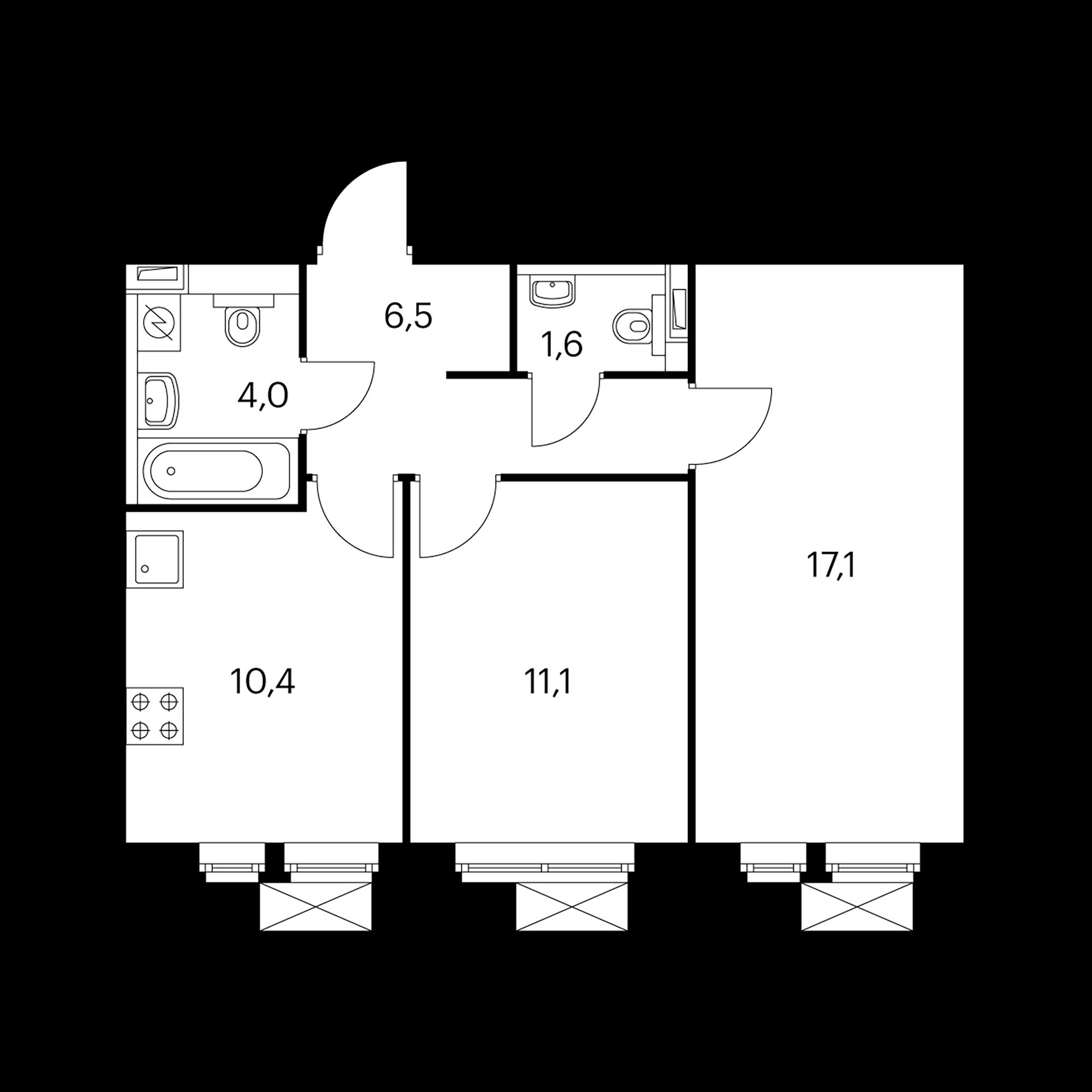 2-комнатная 50.7  м²