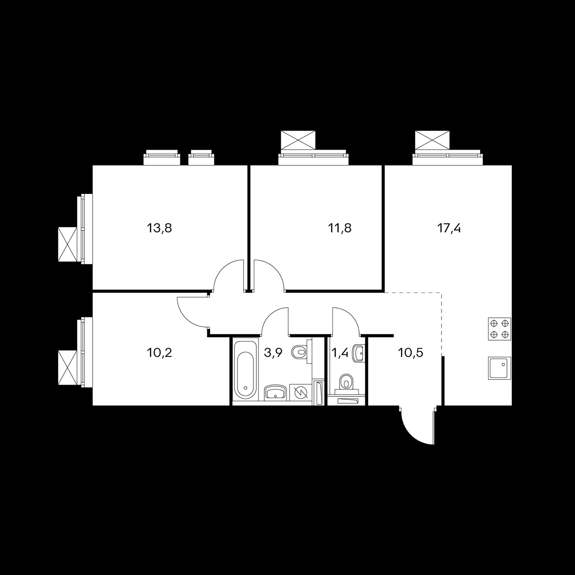 3-комнатная 69 м²