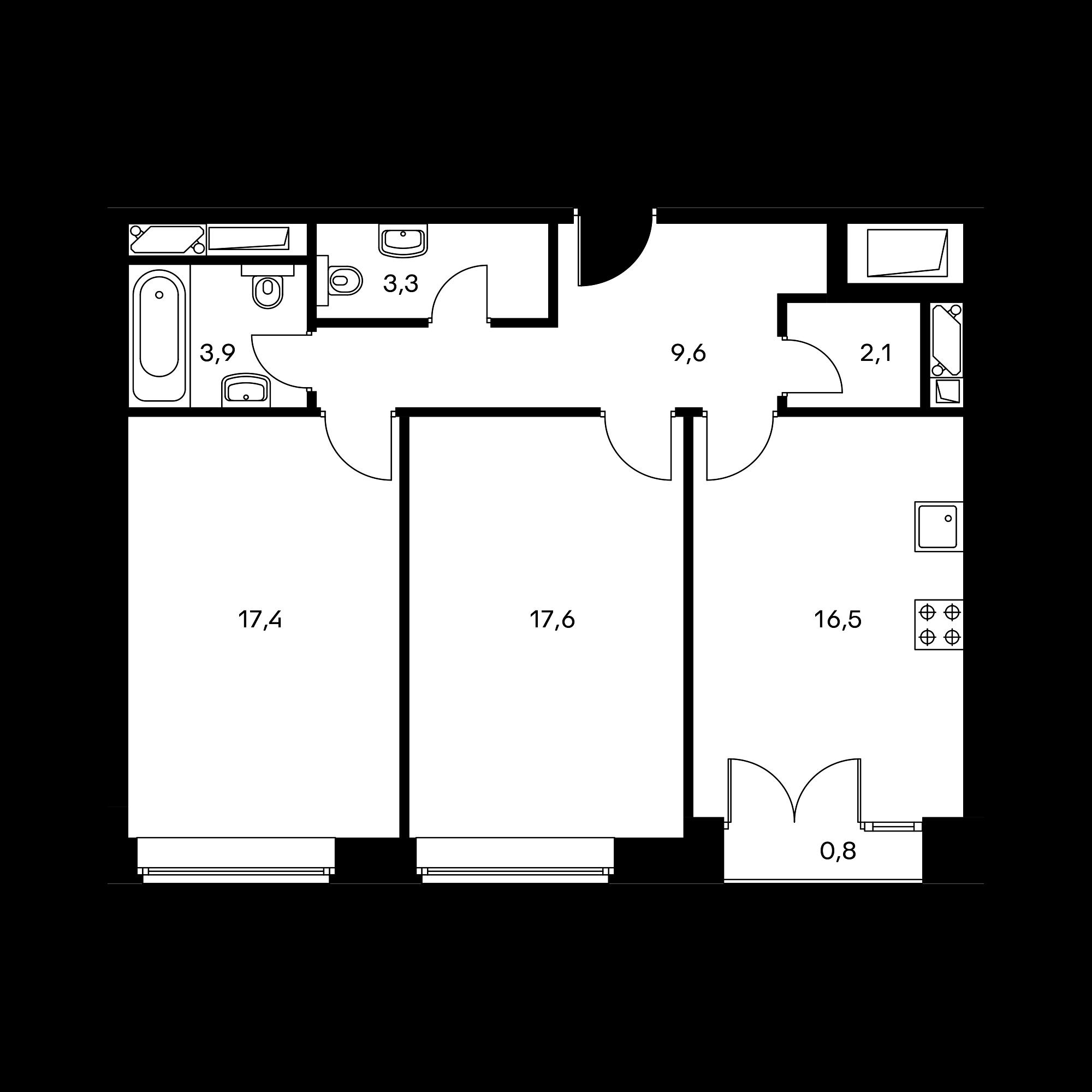 2-комнатная 71.2 м²