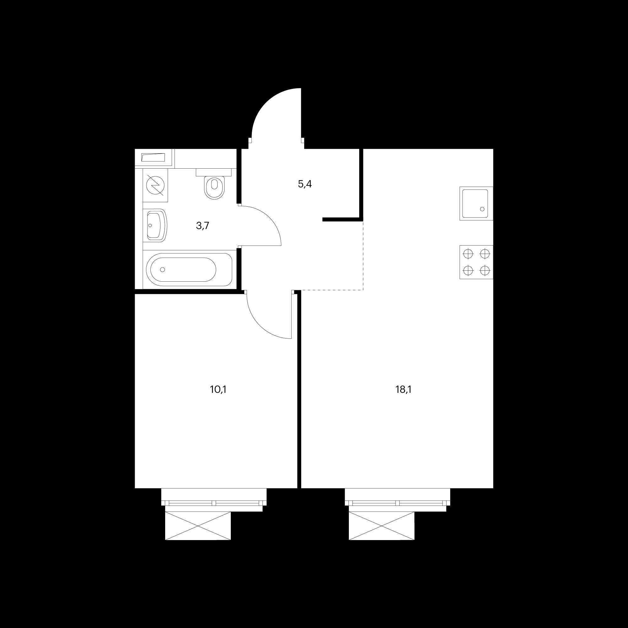 1-комнатная 37.3  м²