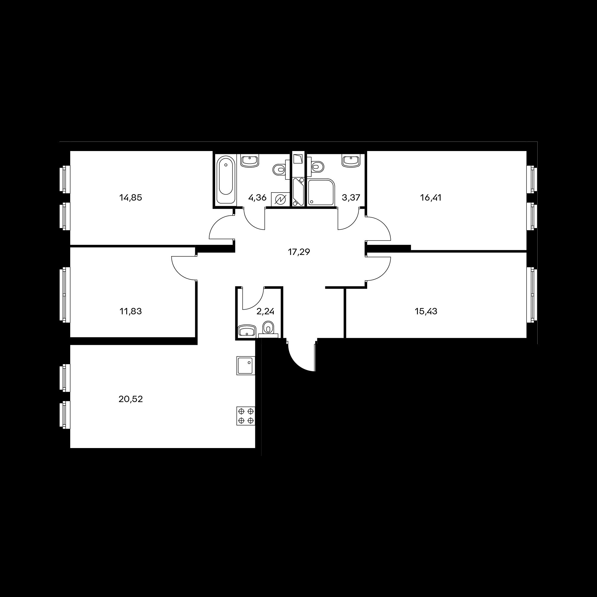 4-комнатная 106.3  м²