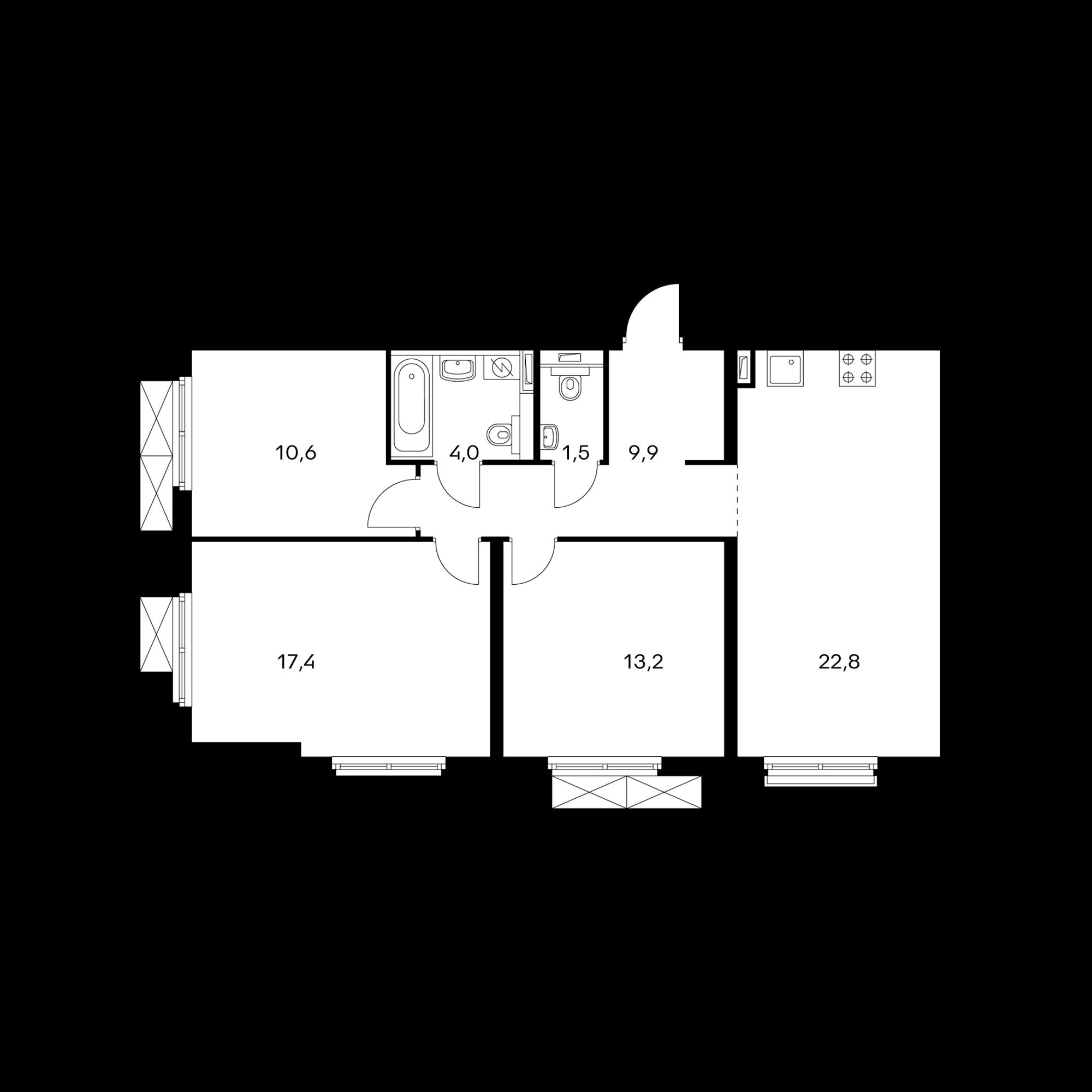3-комнатная 79.2  м²