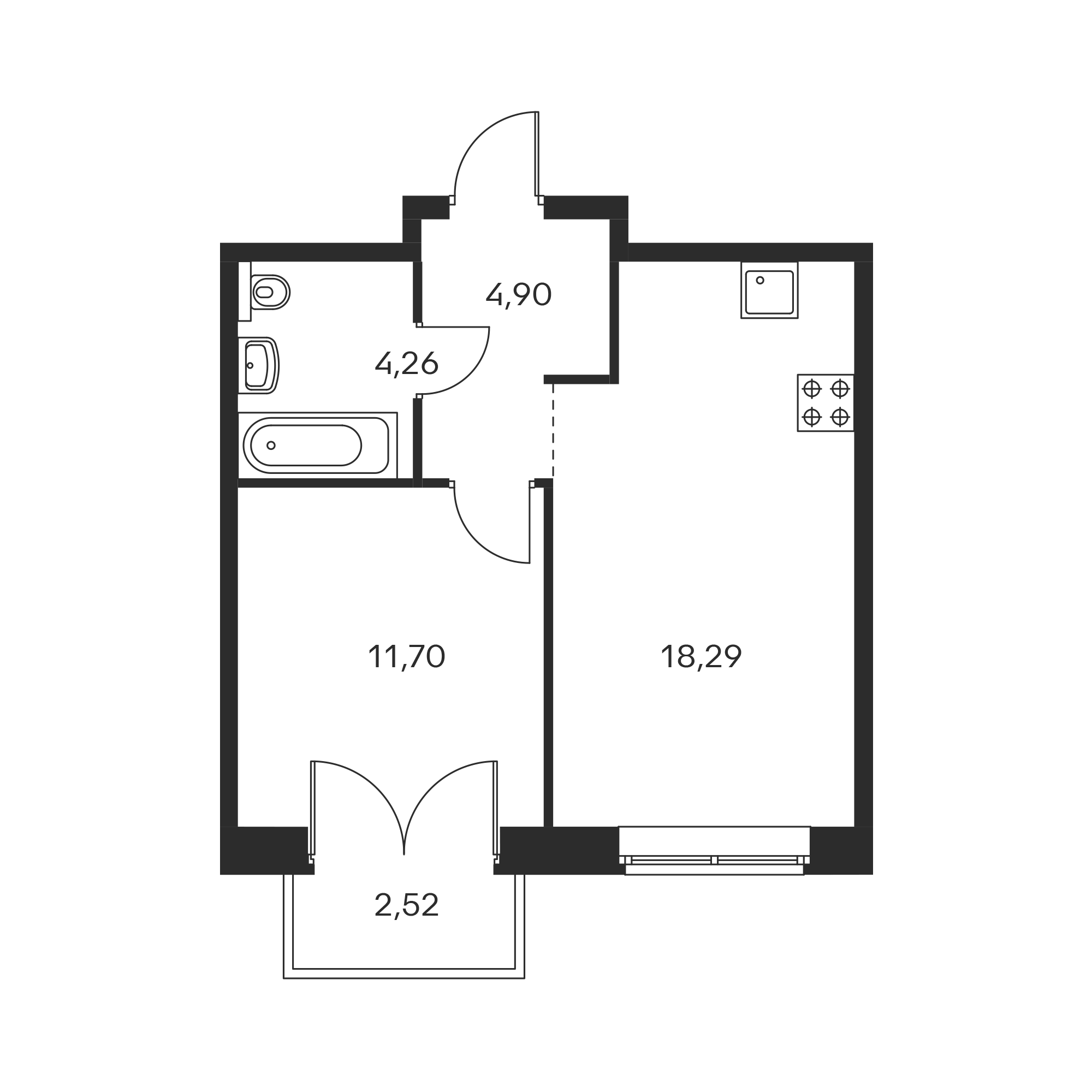 1-комнатная 39.91 м²