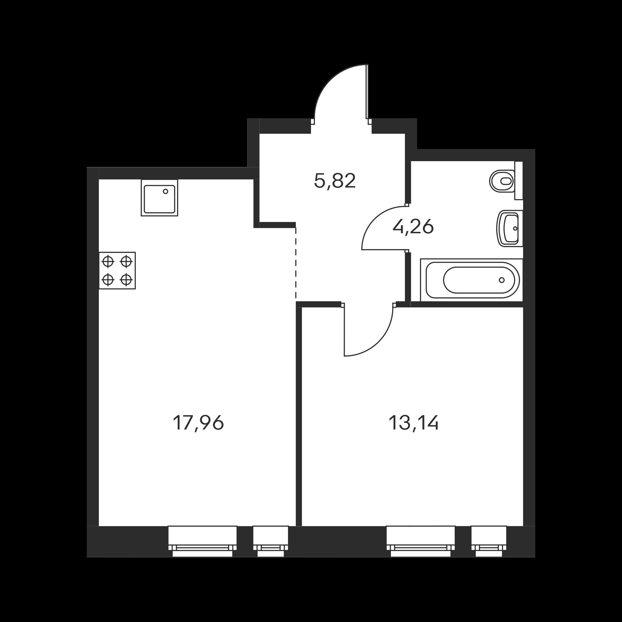 1-комнатная 41.18 м²
