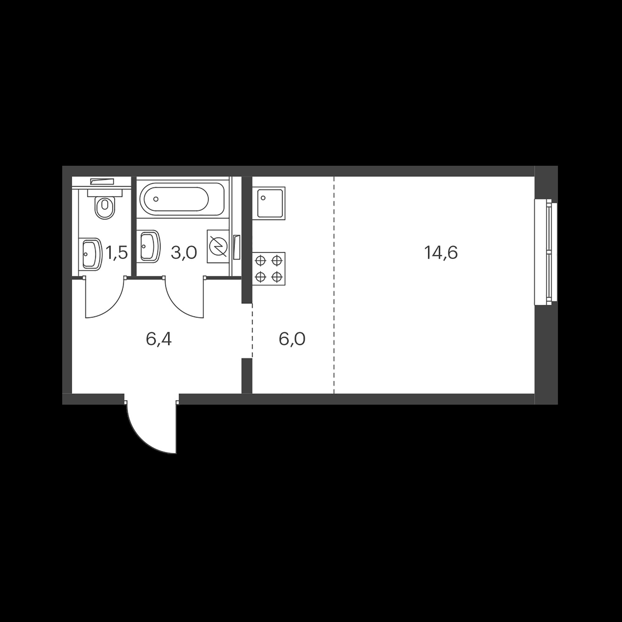 Студия 31.5  м²