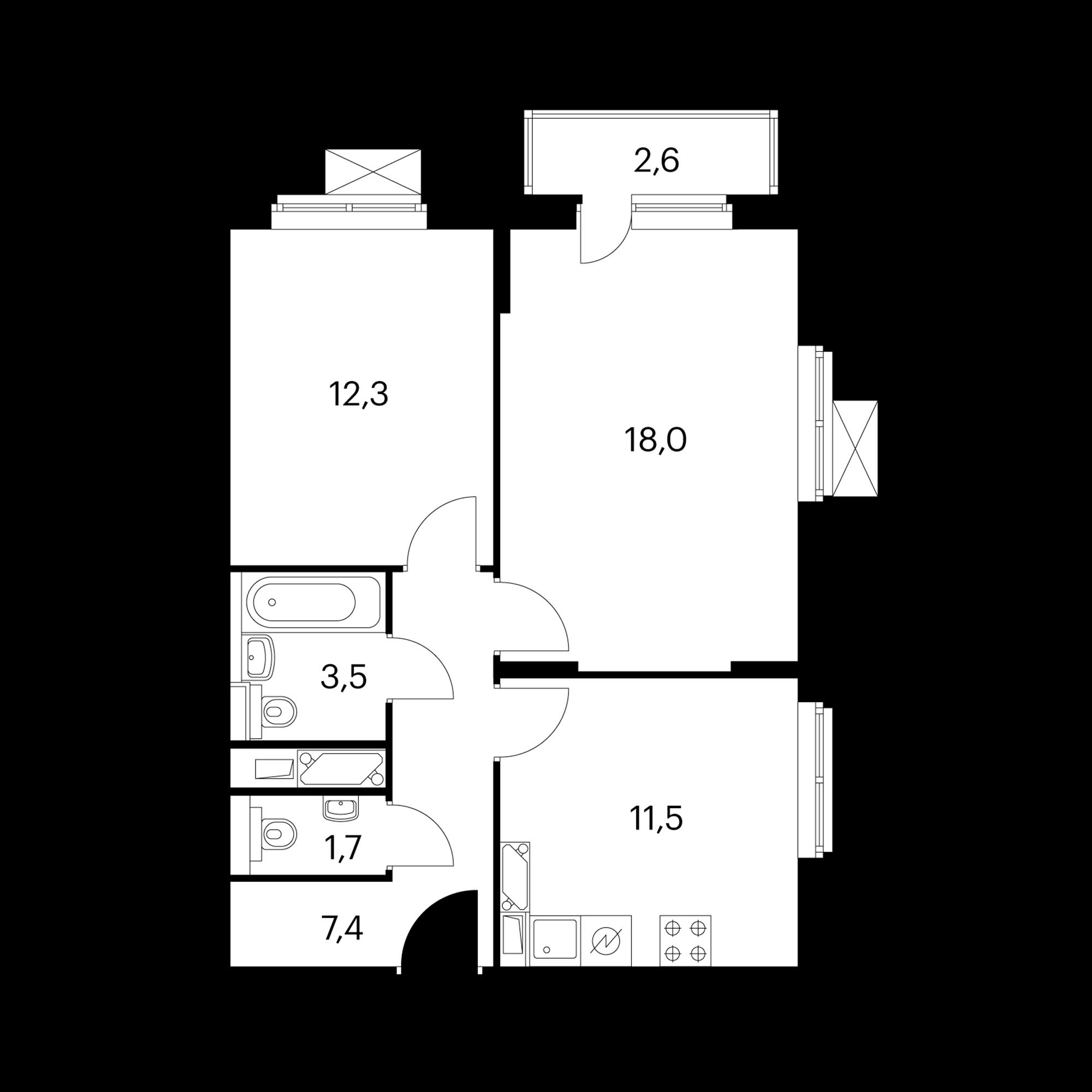 2-комнатная 55.2 м²