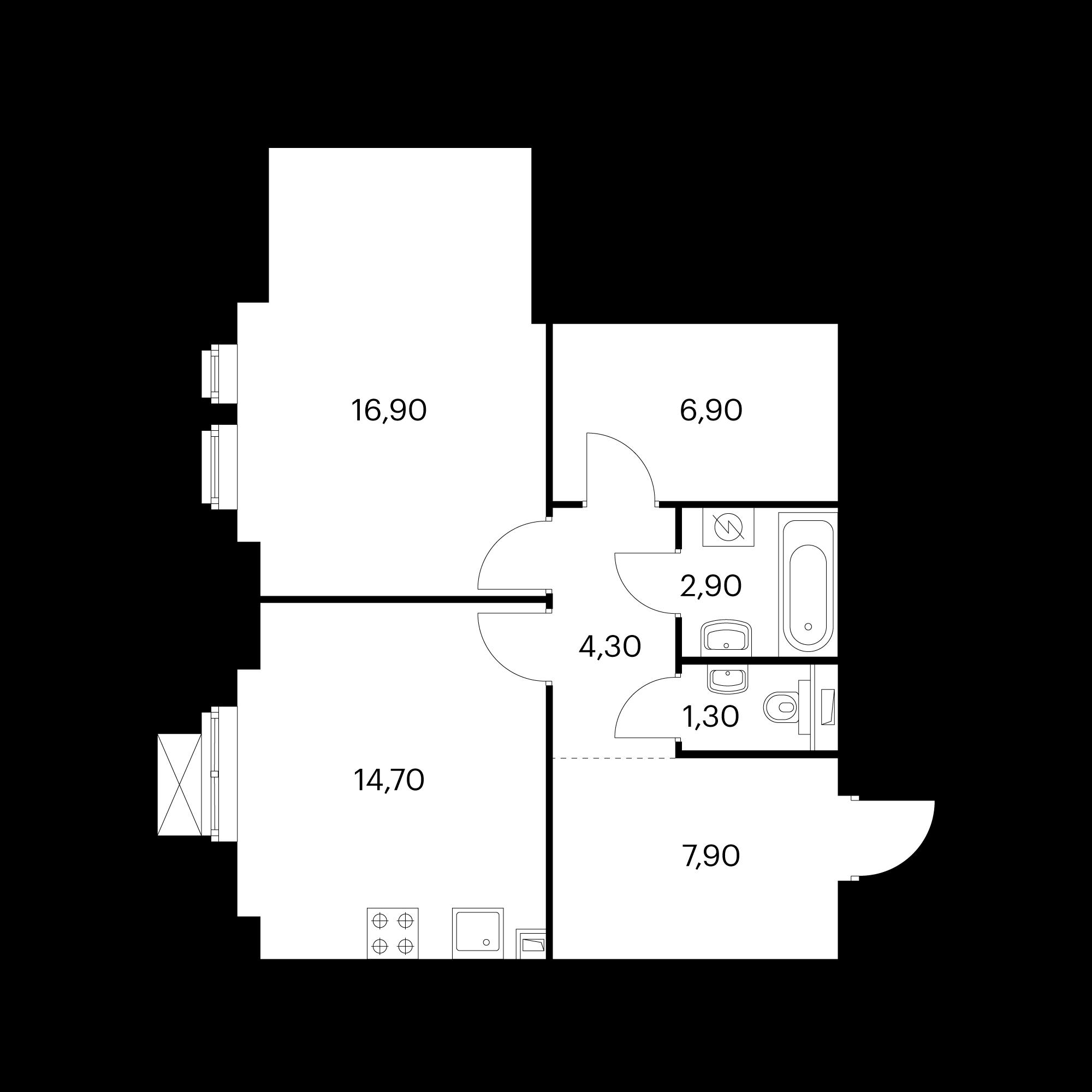 1-комнатная 55 м²