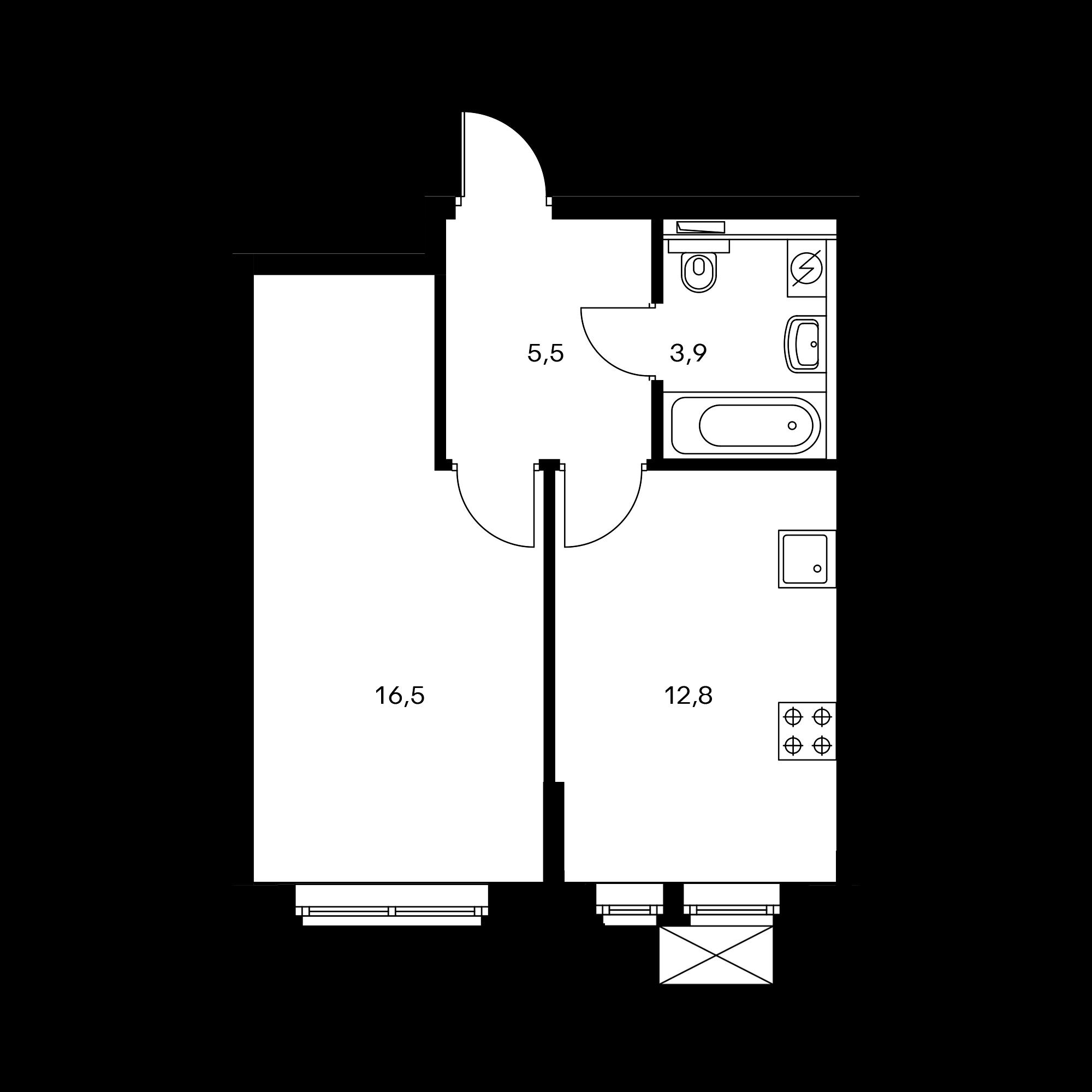 1-комнатная 38.7 м²
