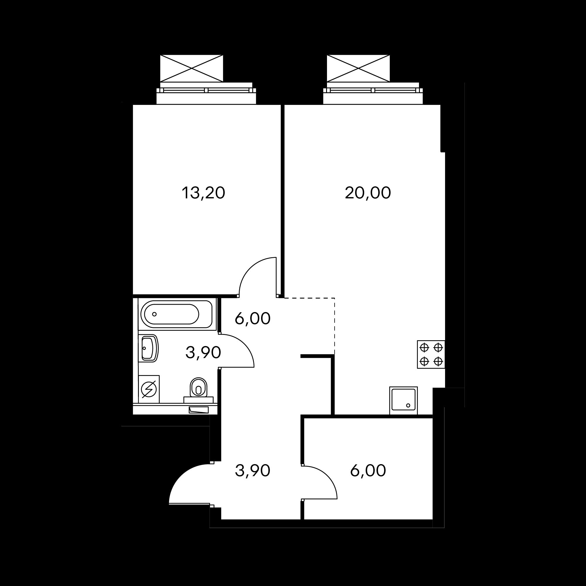 1-комнатная 53.2 м²