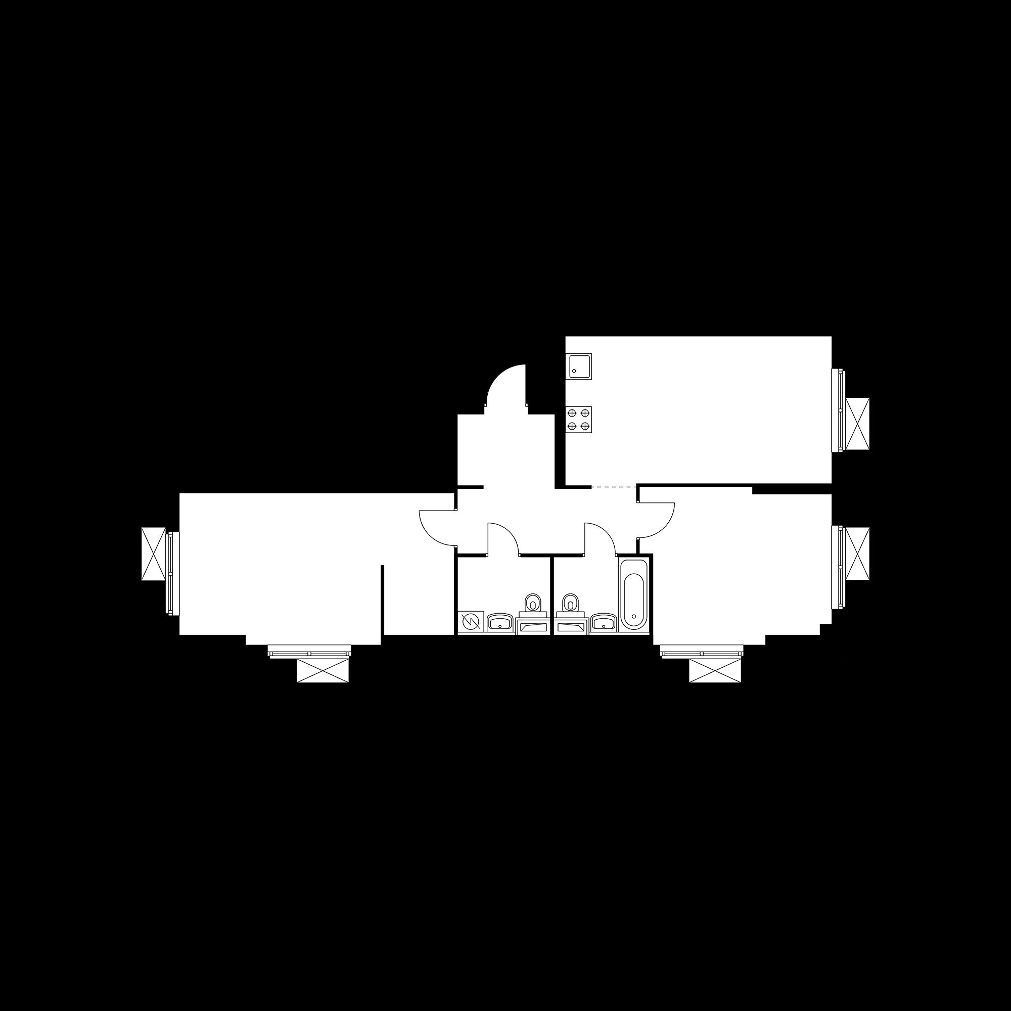 2-комнатная 73.25  м²