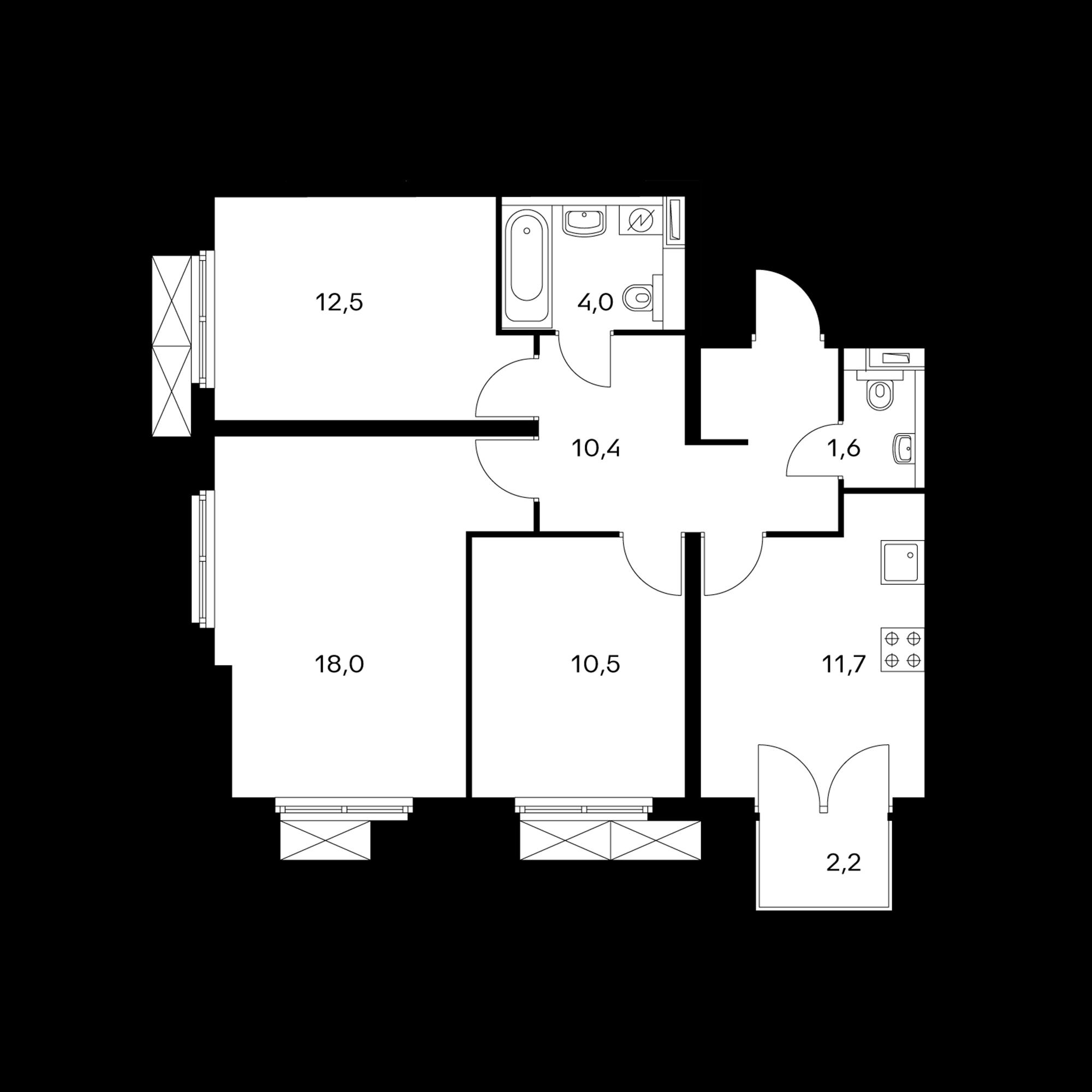 3-комнатная 69.4  м²