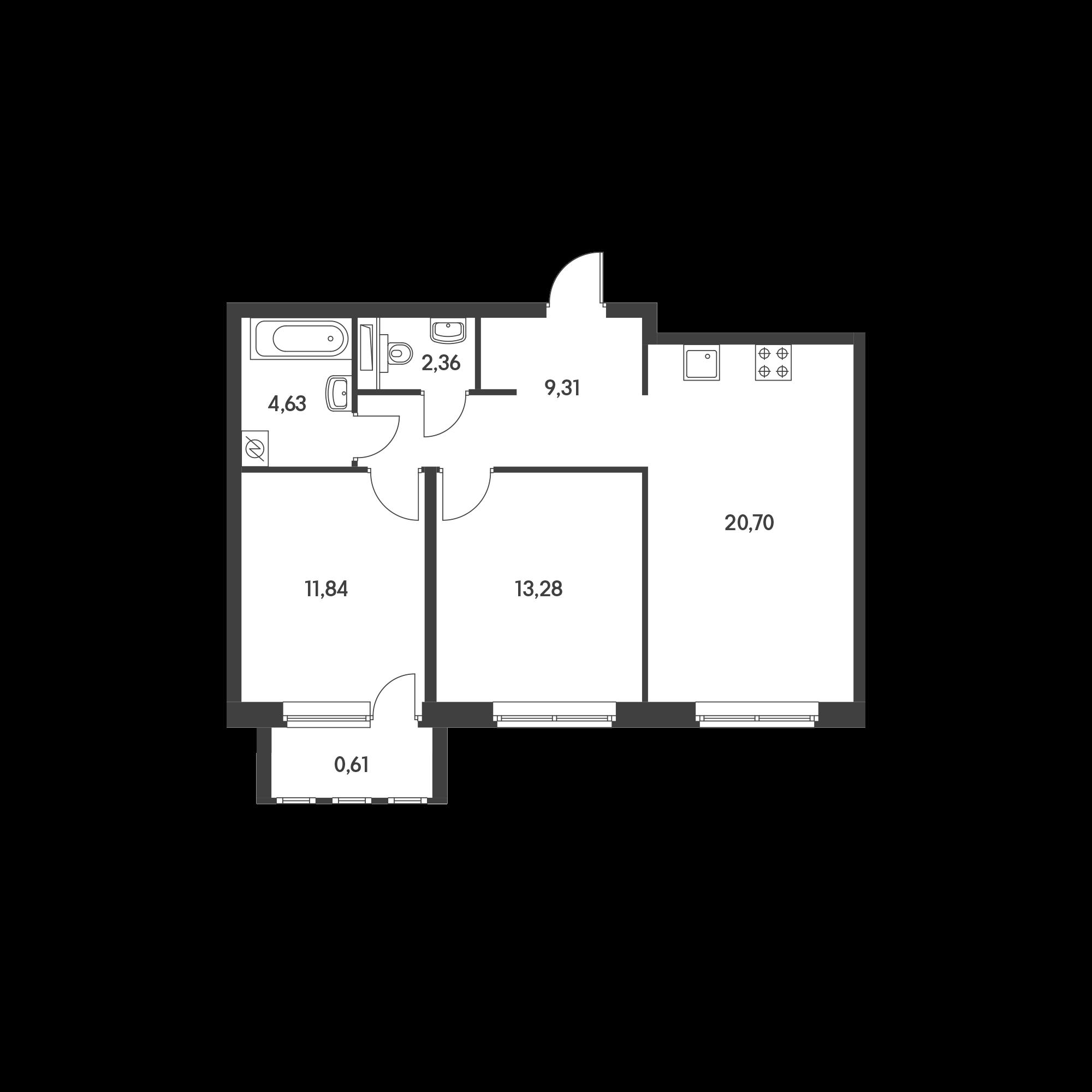 2-комнатная 62.73  м²