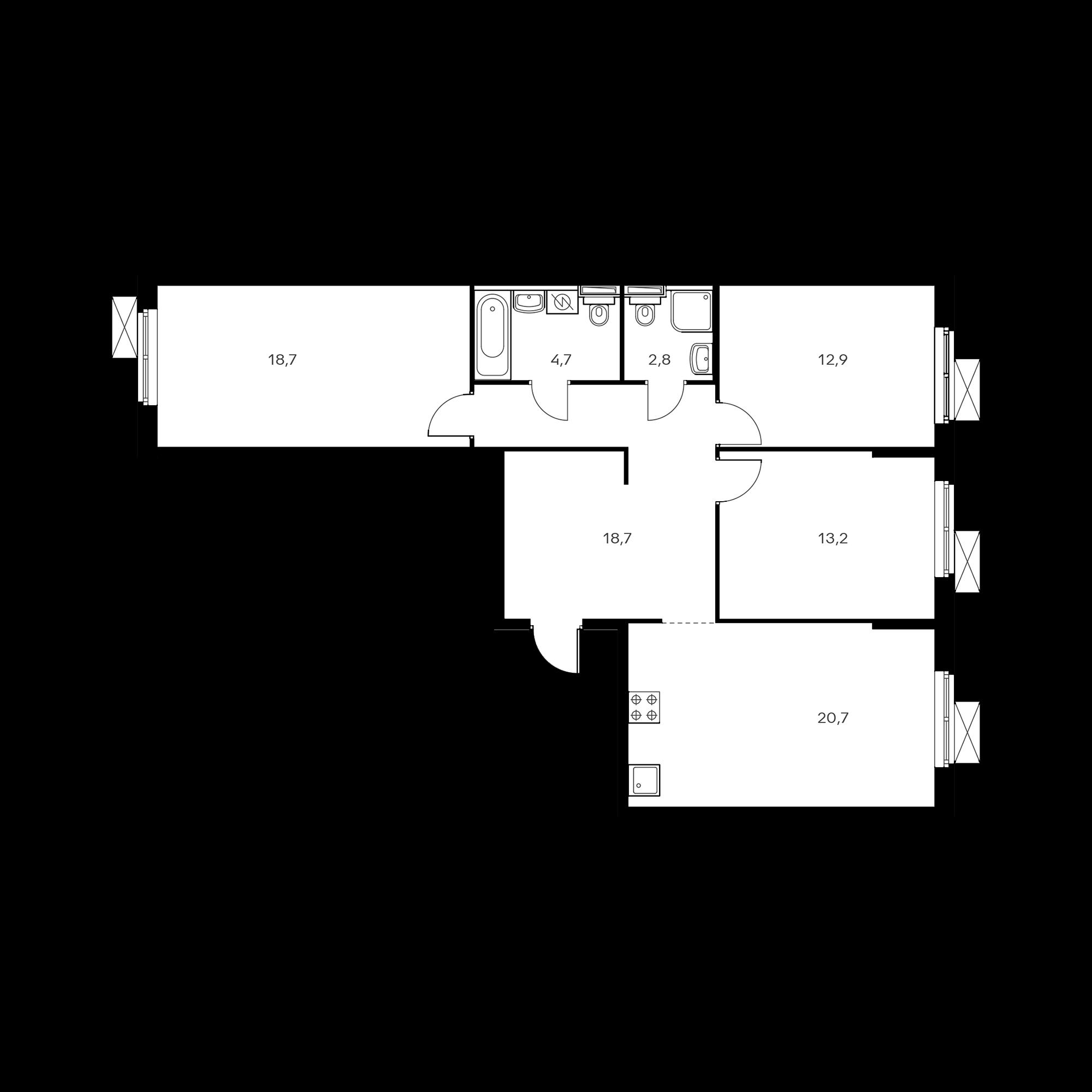 3-комнатная 91.4 м²