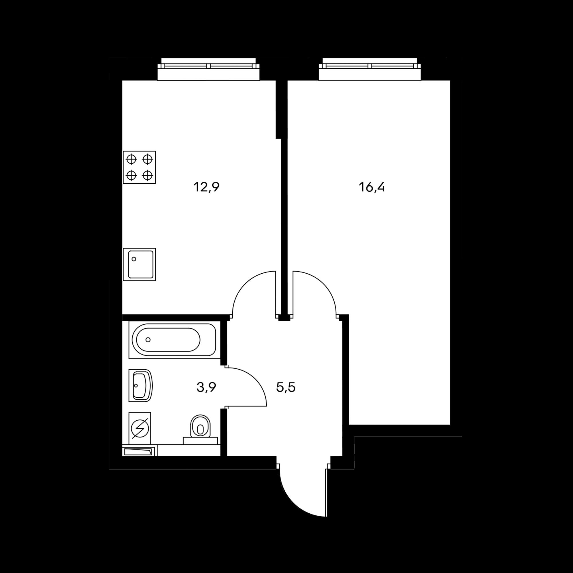 1-комнатная 38.5  м²