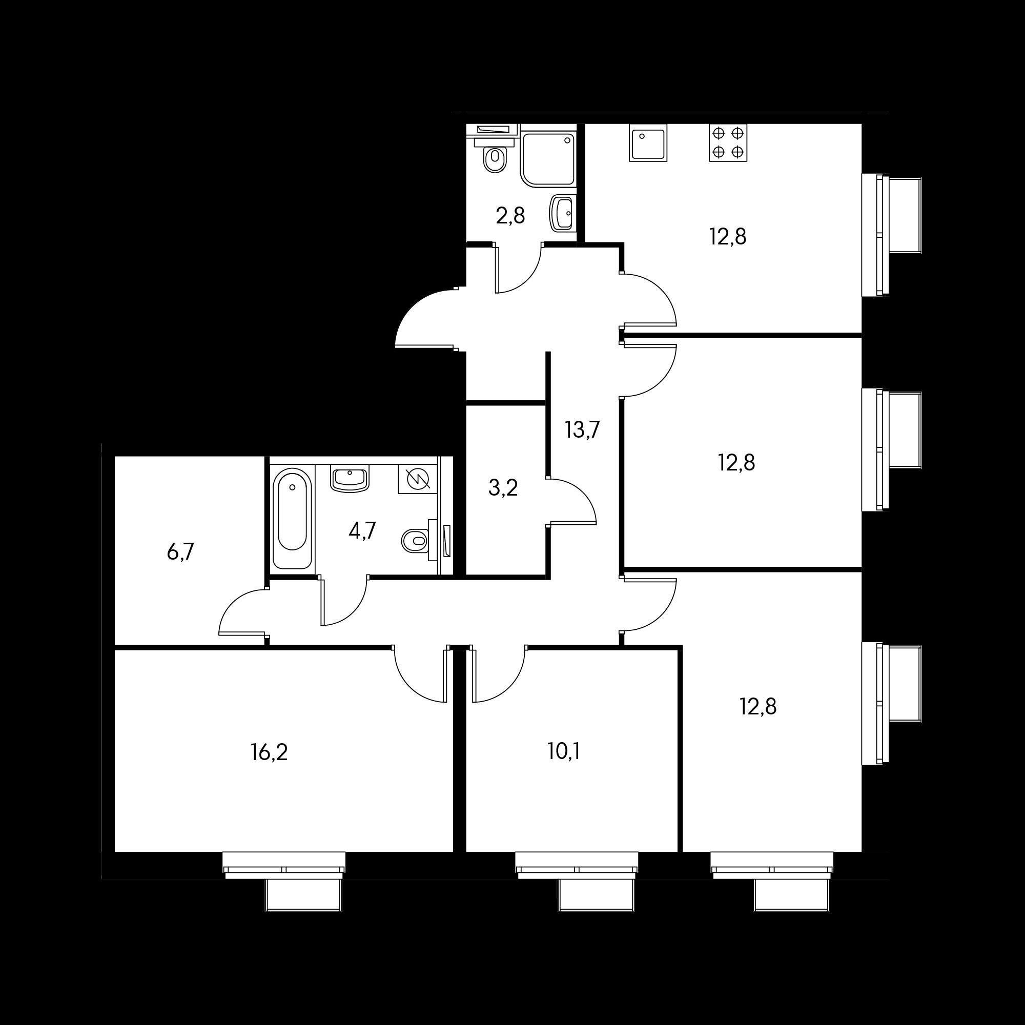 4-комнатная 95.8 м²