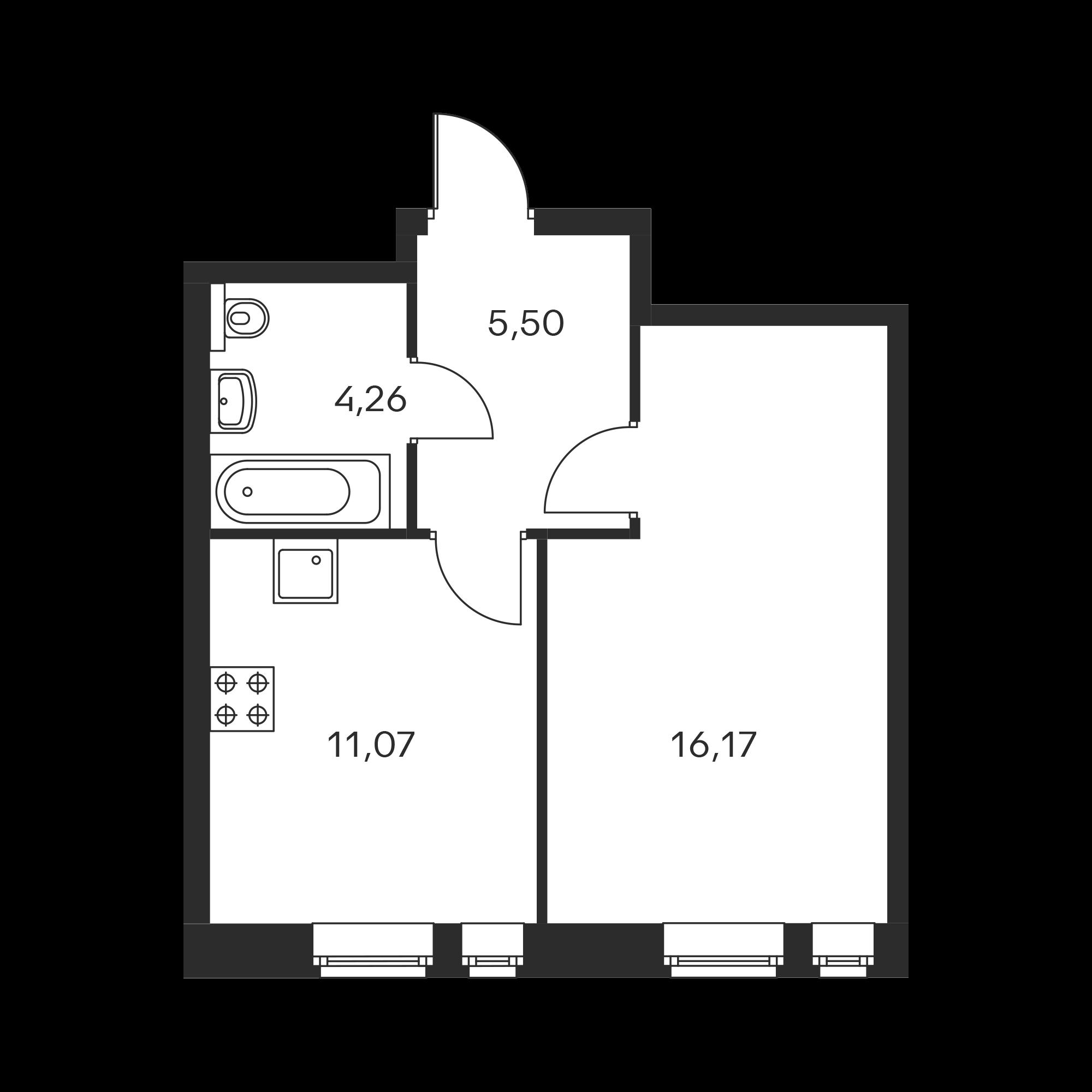 1-комнатная 37  м²
