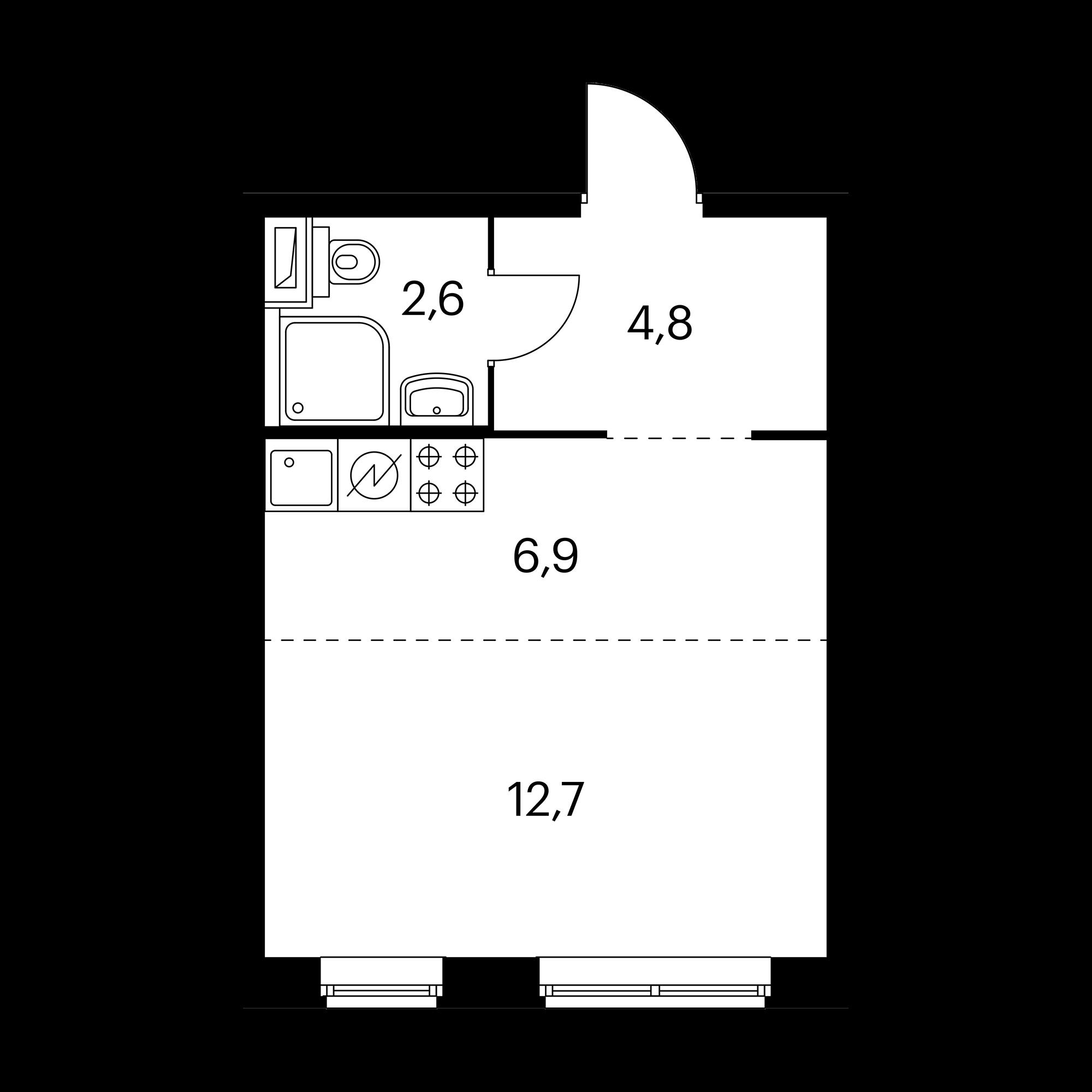 Студия 27 м²