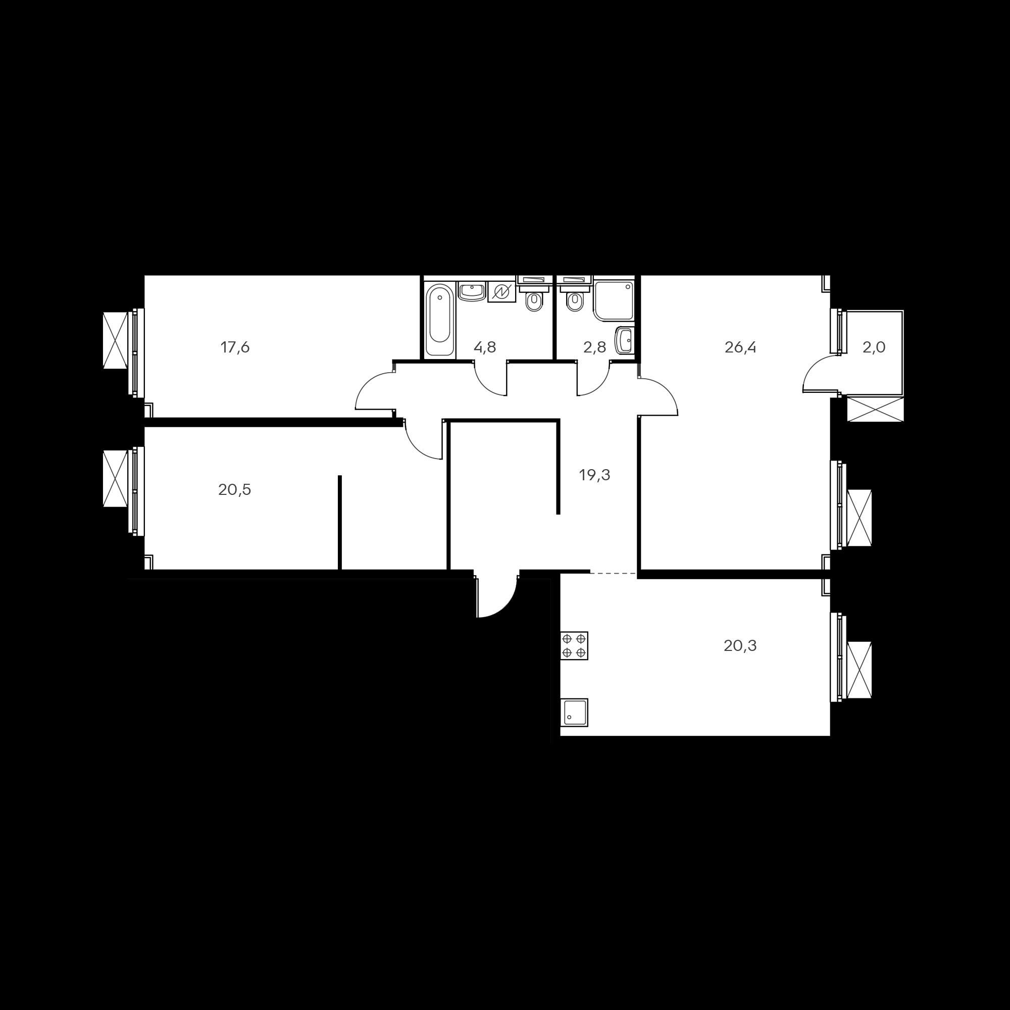 3-комнатная 112.3 м²
