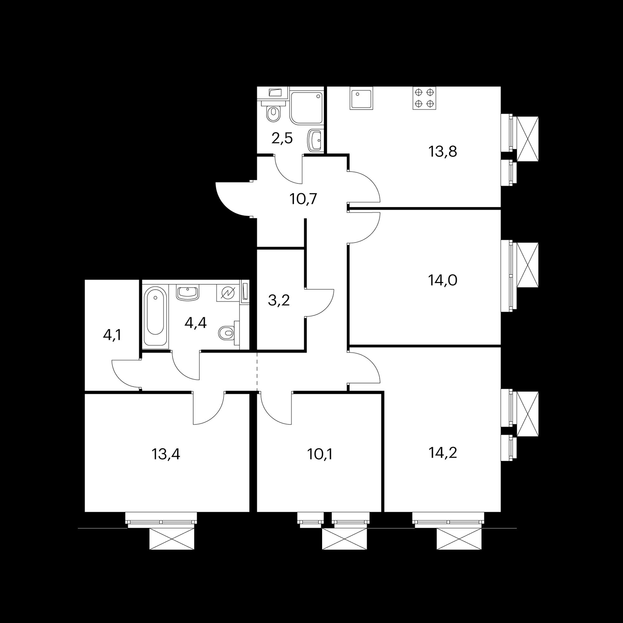 4-комнатная 93.2 м²