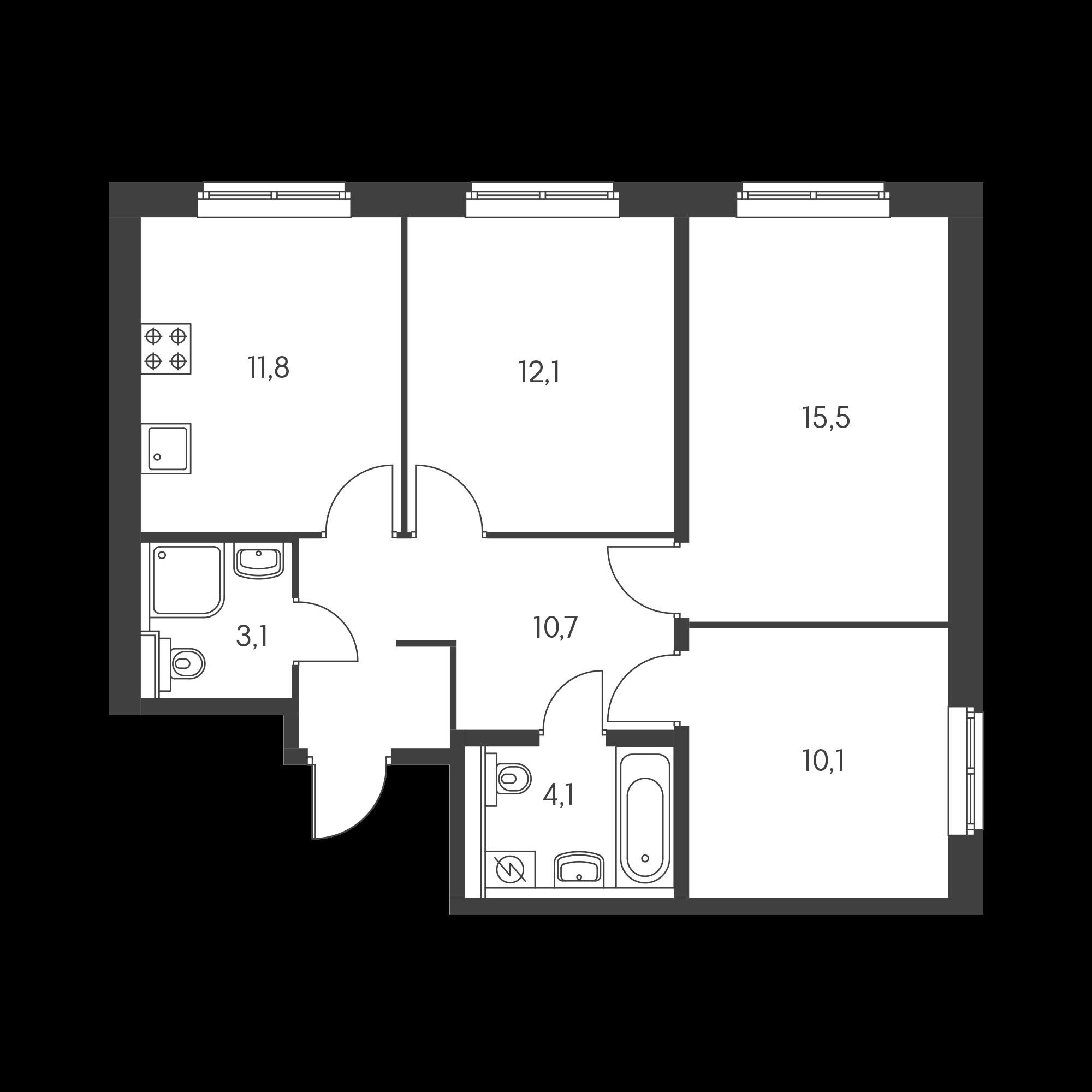 3-комнатная 67 м²