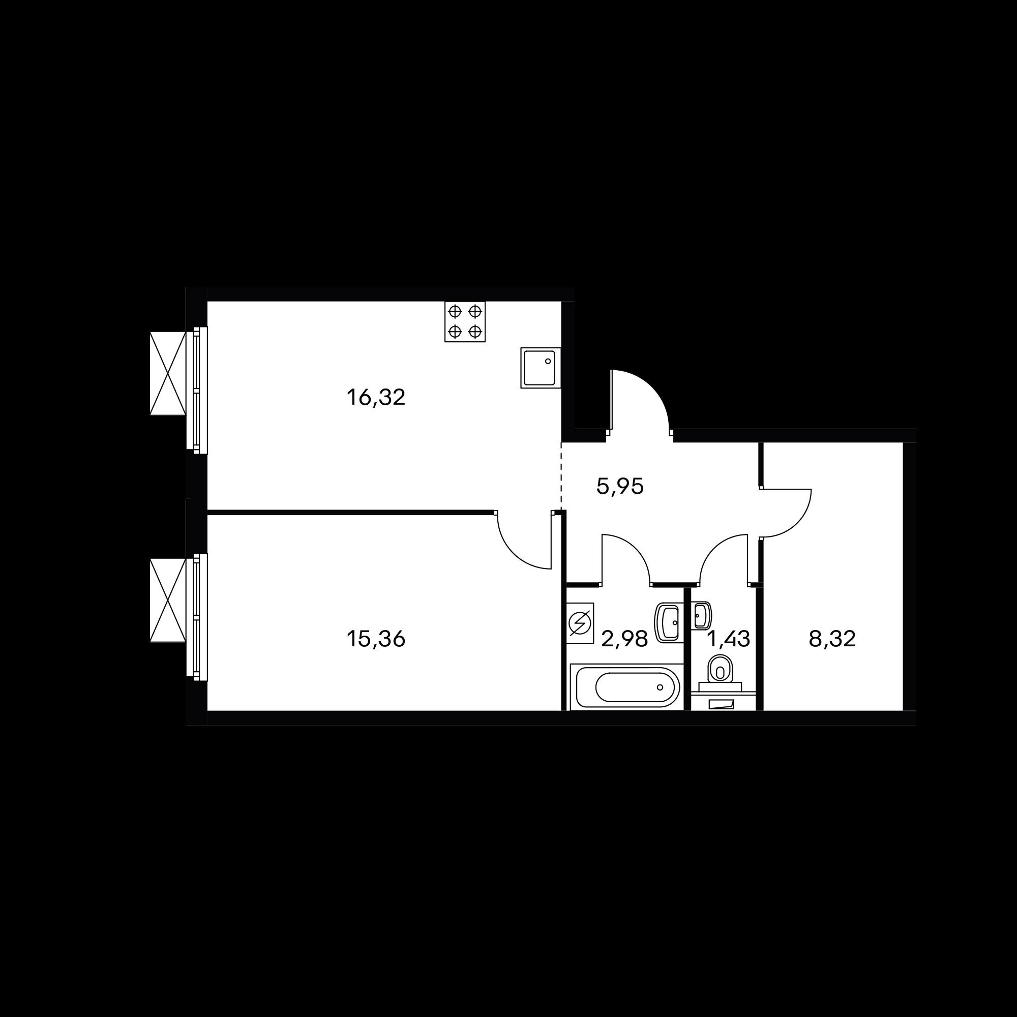1-комнатная 50.3  м²