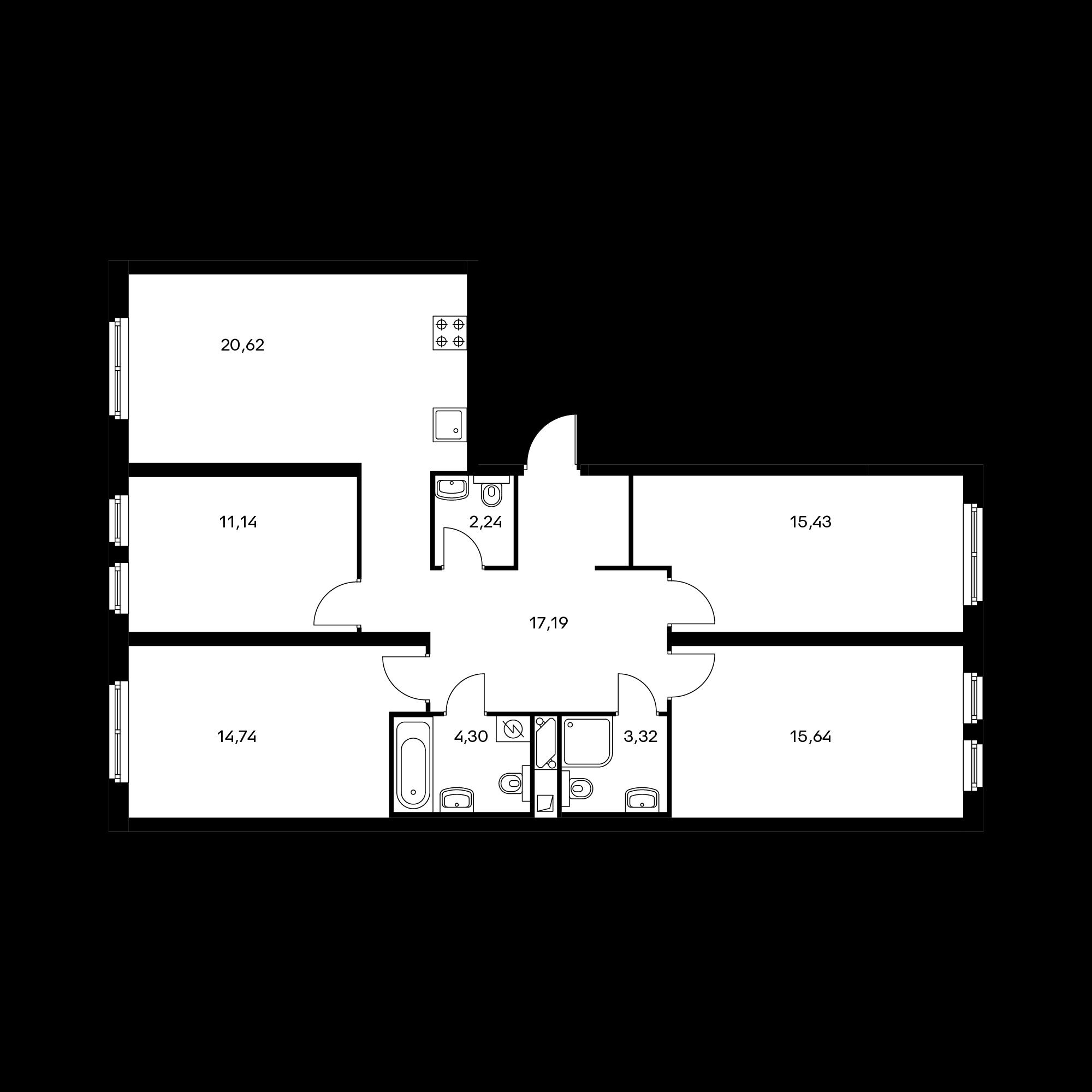 4-комнатная 104.62 м²