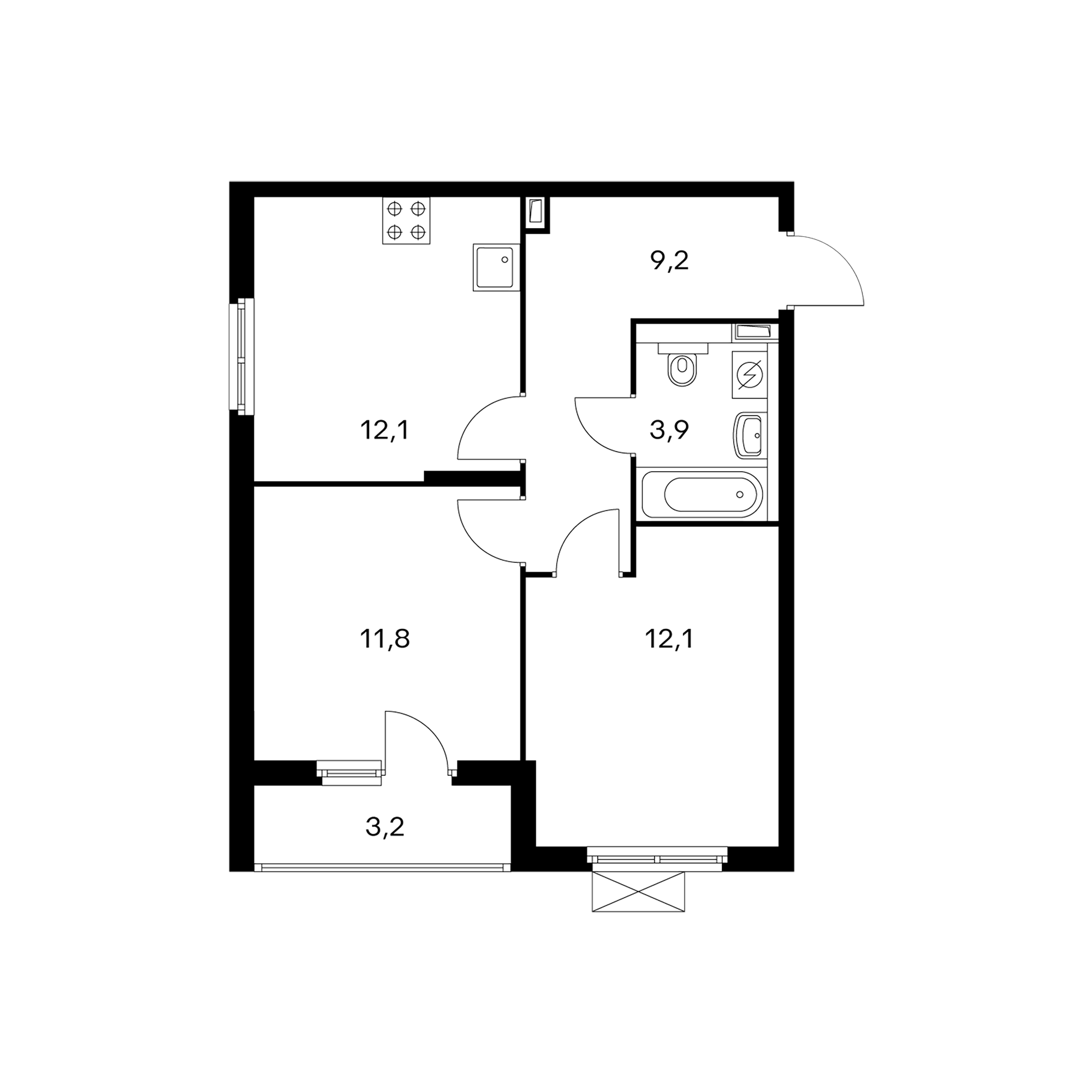 2-комнатная 50.3 м²