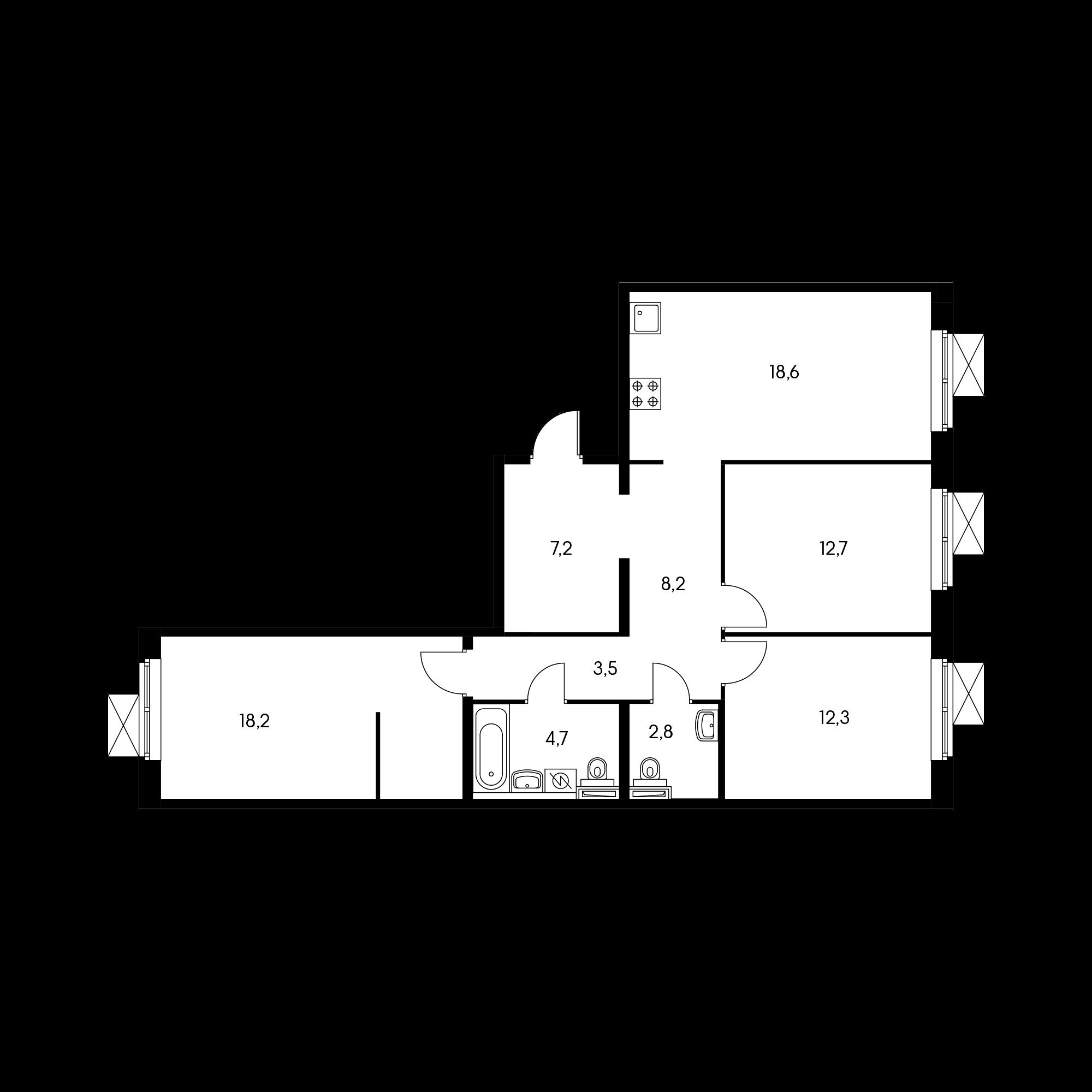 3-комнатная 87.5 м²