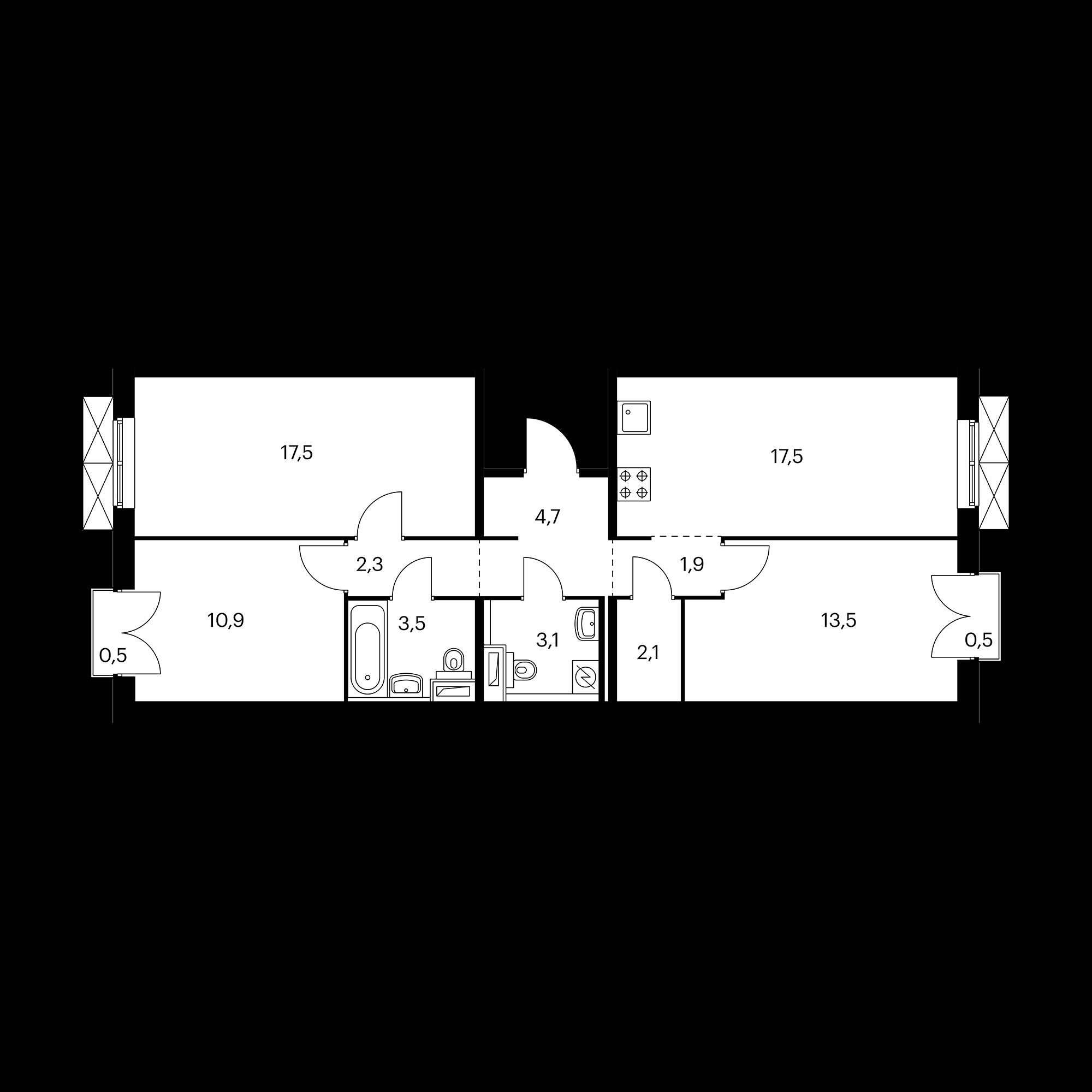 3-комнатная 77.4 м²