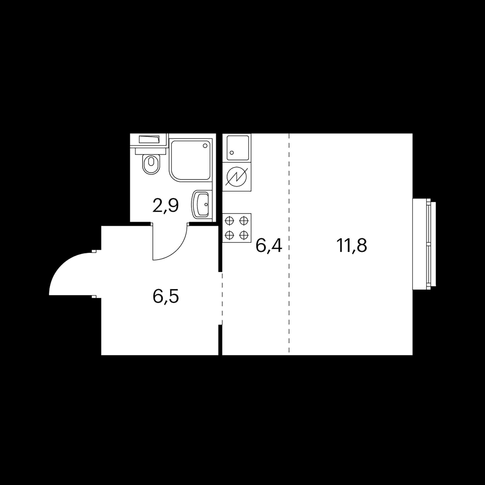 Студия 27.6 м²