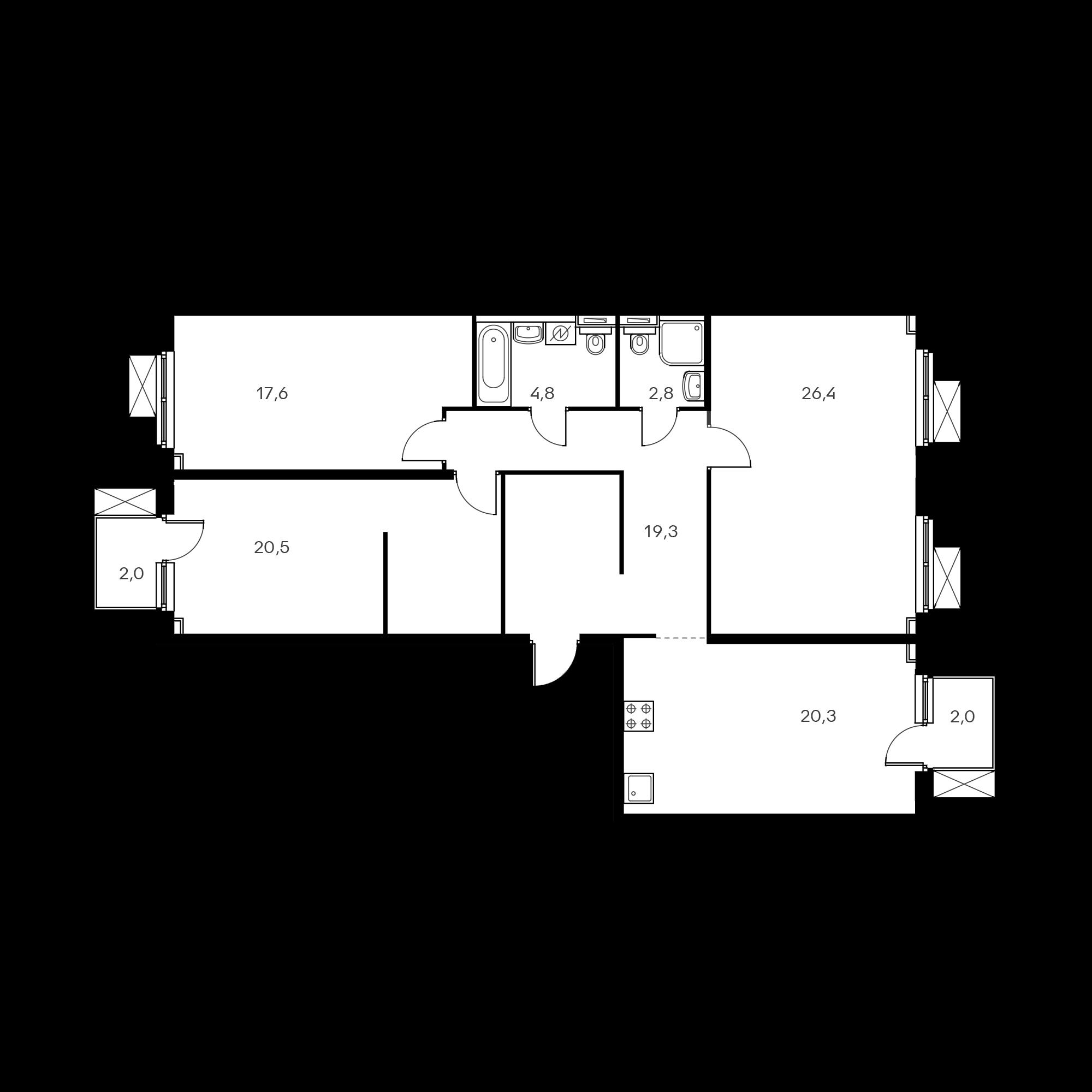 3-комнатная 112.9 м²