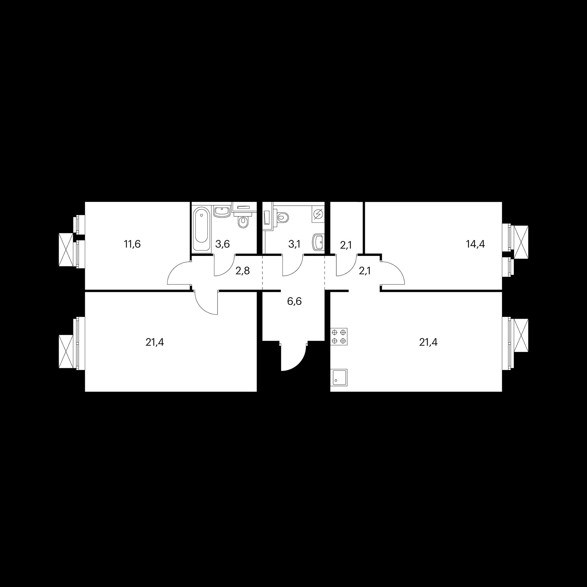 3-комнатная 89 м²
