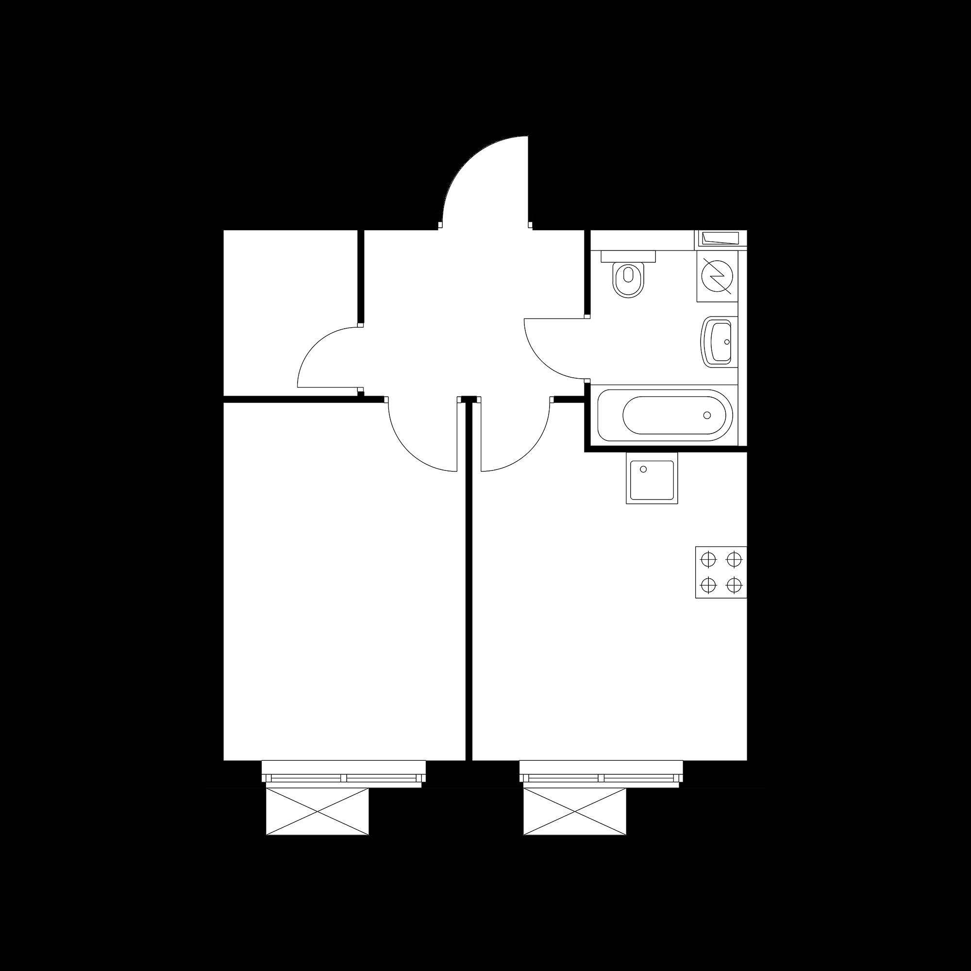 1-комнатная 36.12  м²