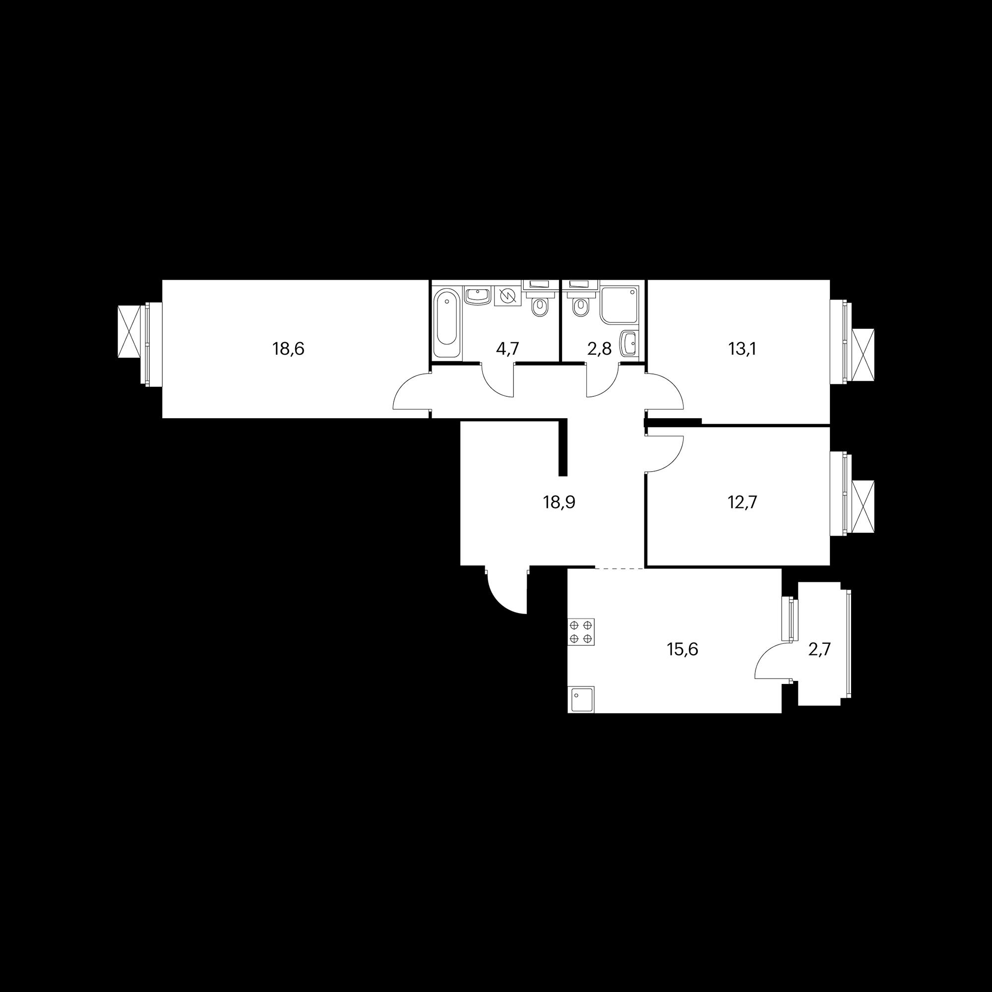 3-комнатная 87.8  м²