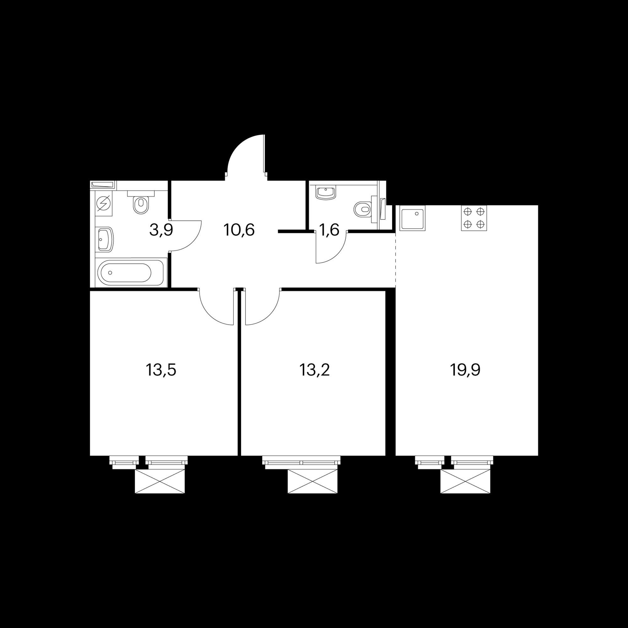 2-комнатная 62.7  м²