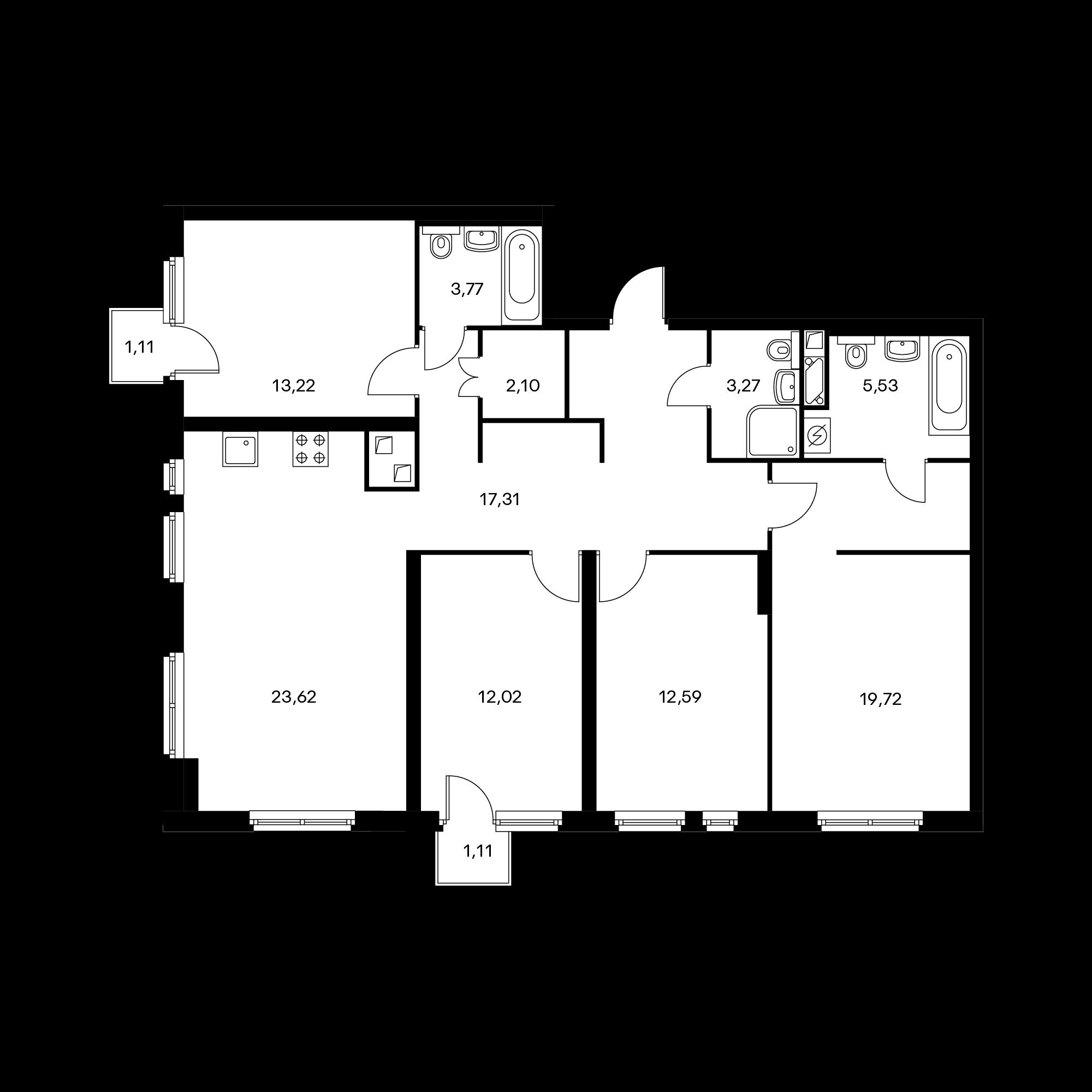 4-комнатная 114.1  м²
